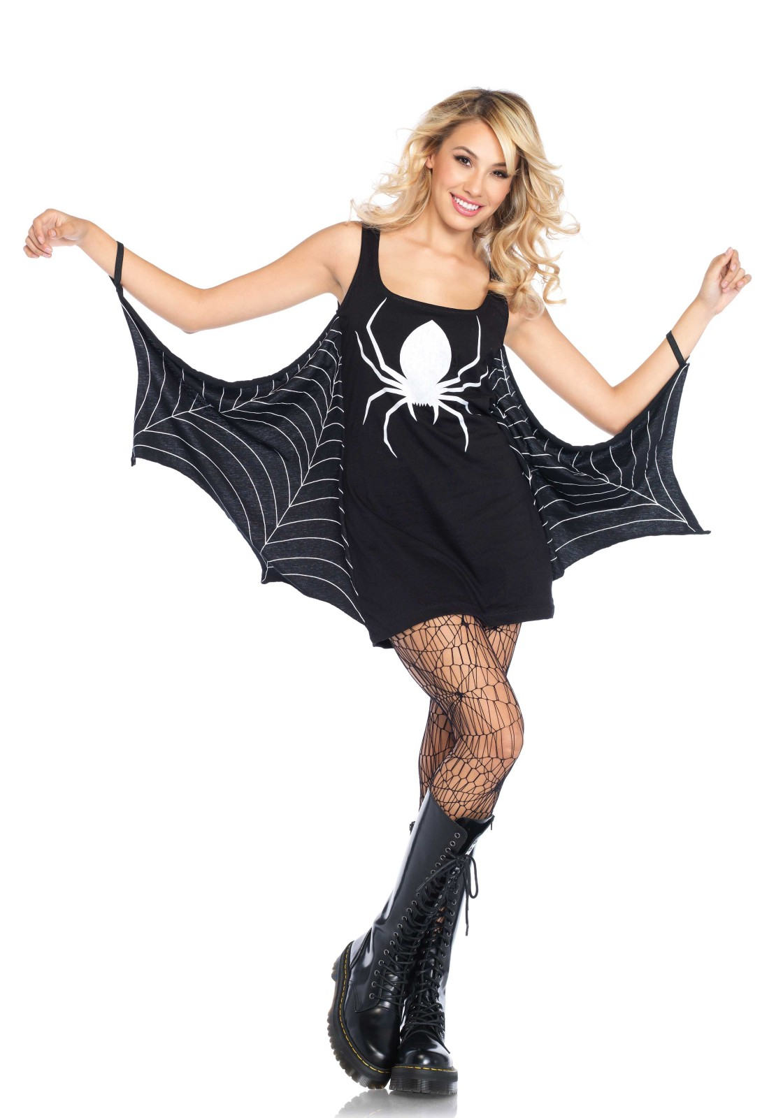 Jersey spiderweb tunic dress with elastic wrist bands.