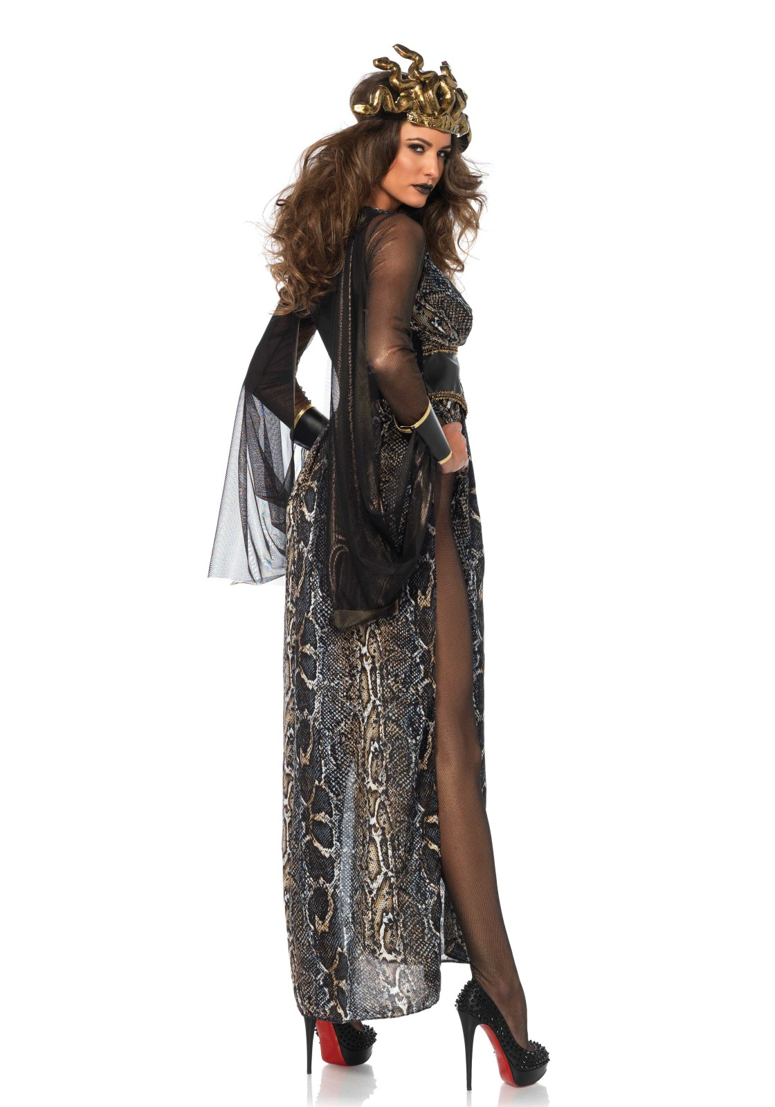3 PC. Medusa, includes gold shimmer catsuit with attached cuffs, side slit snake print dress and snake head piece.
