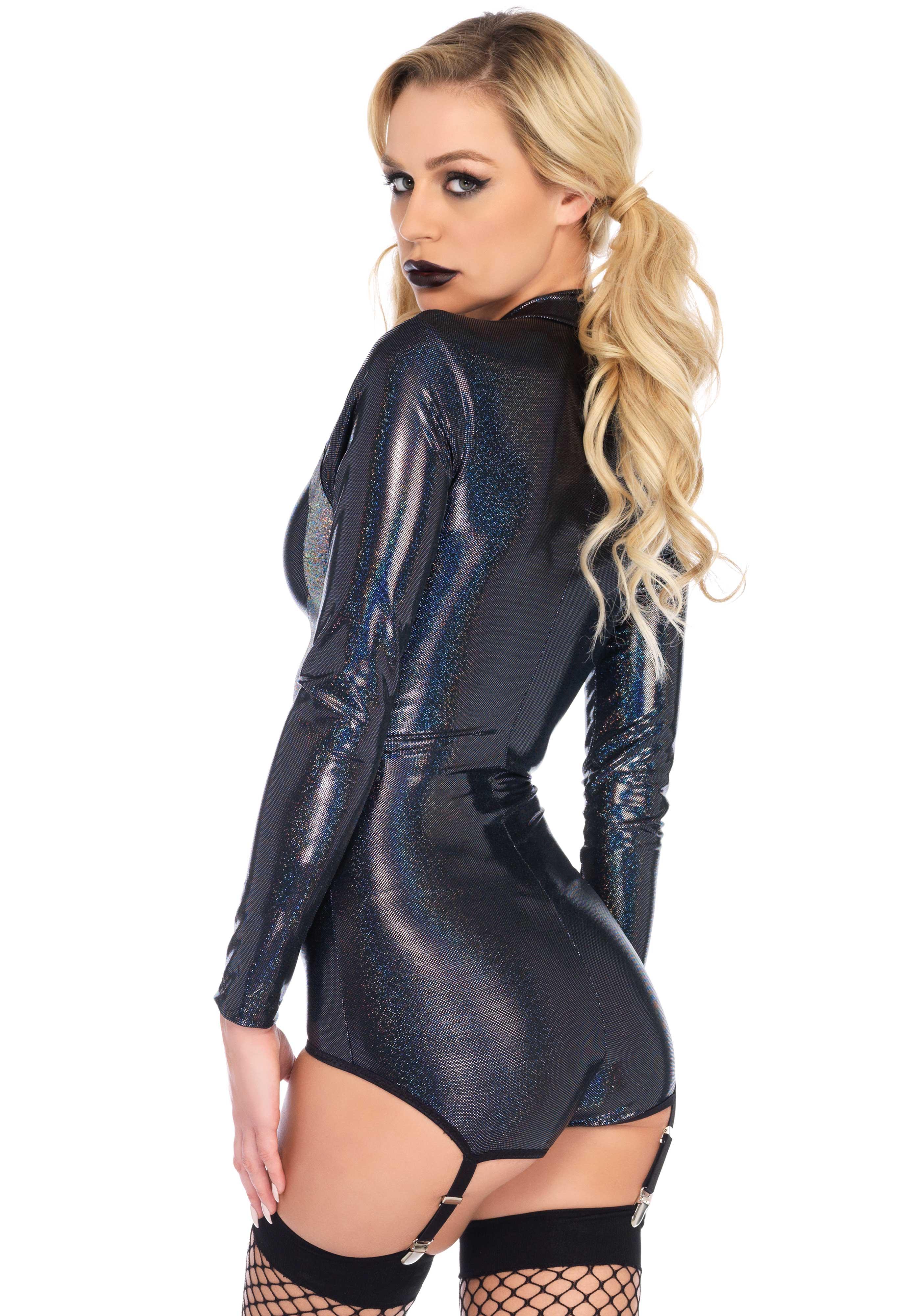 Shimmer iridescent skull garter bodysuit for a do-it-yourself costume.