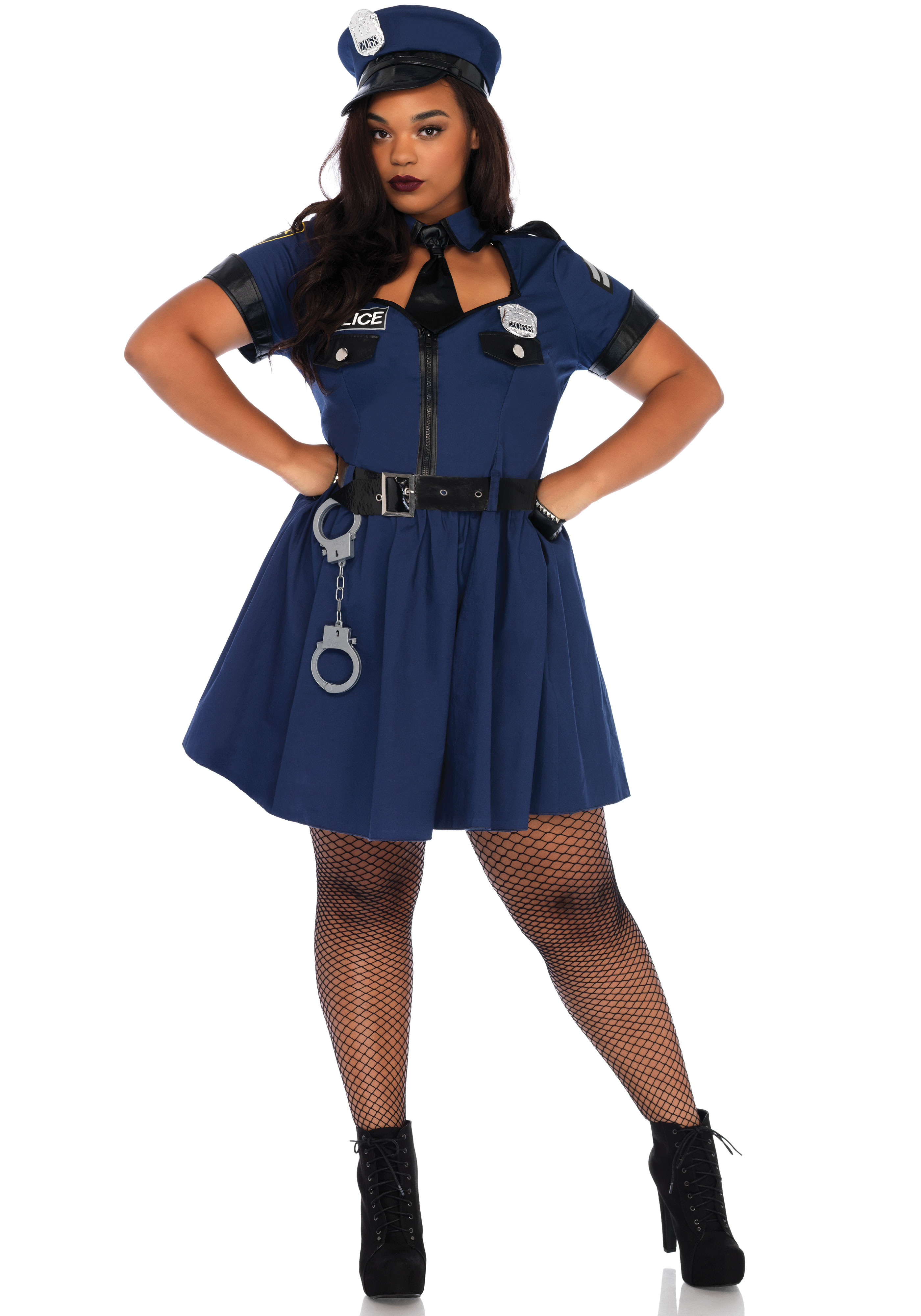 5PC. Plus Size Flirty Cop costume, includes zipper front dress with badge accents, neck tie choker, belt, toy handcuffs, and matching policehat.