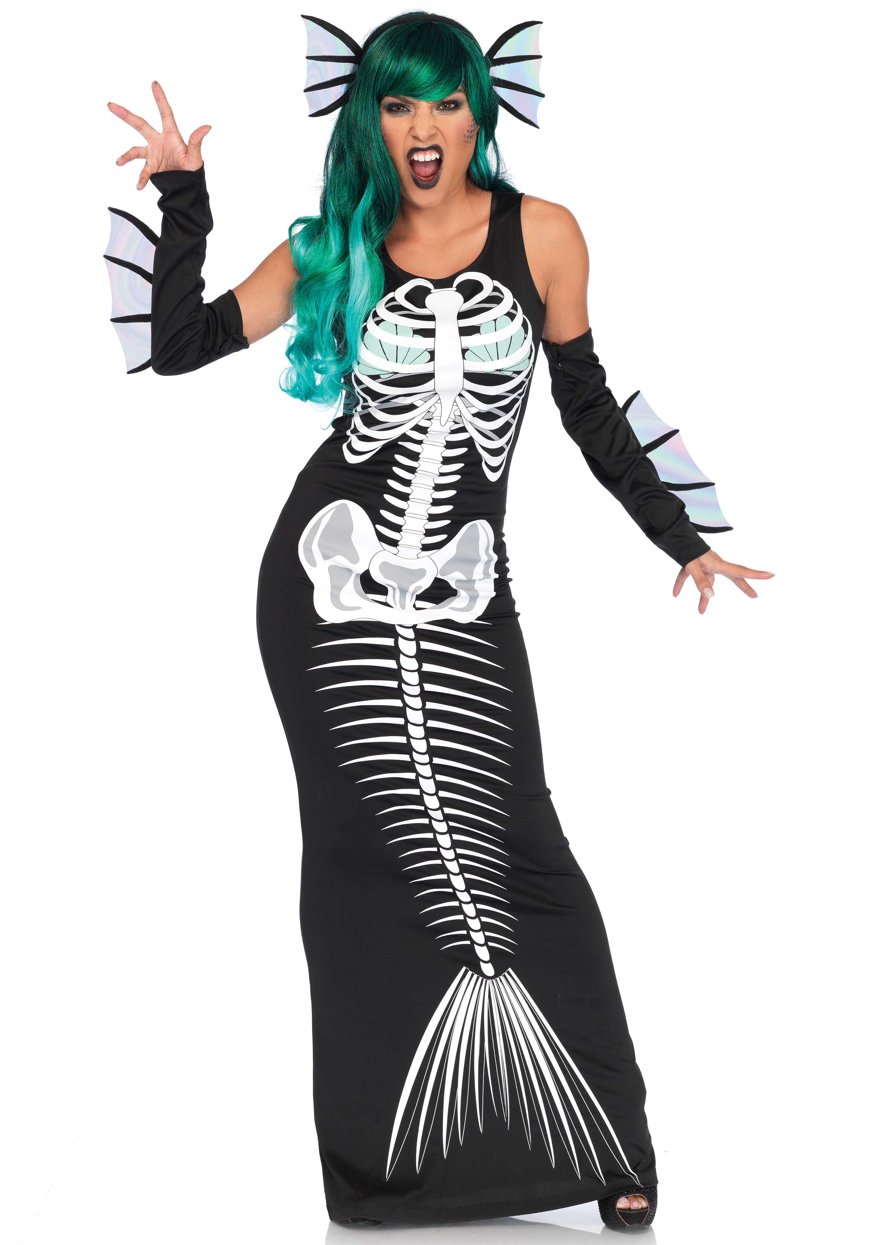 3PC. Skeleton Siren costume, includes mermaid skeleton tank dress, fin arm warmers, and matching head piece. Fun shell bra top accent under sigh bone skeleton.