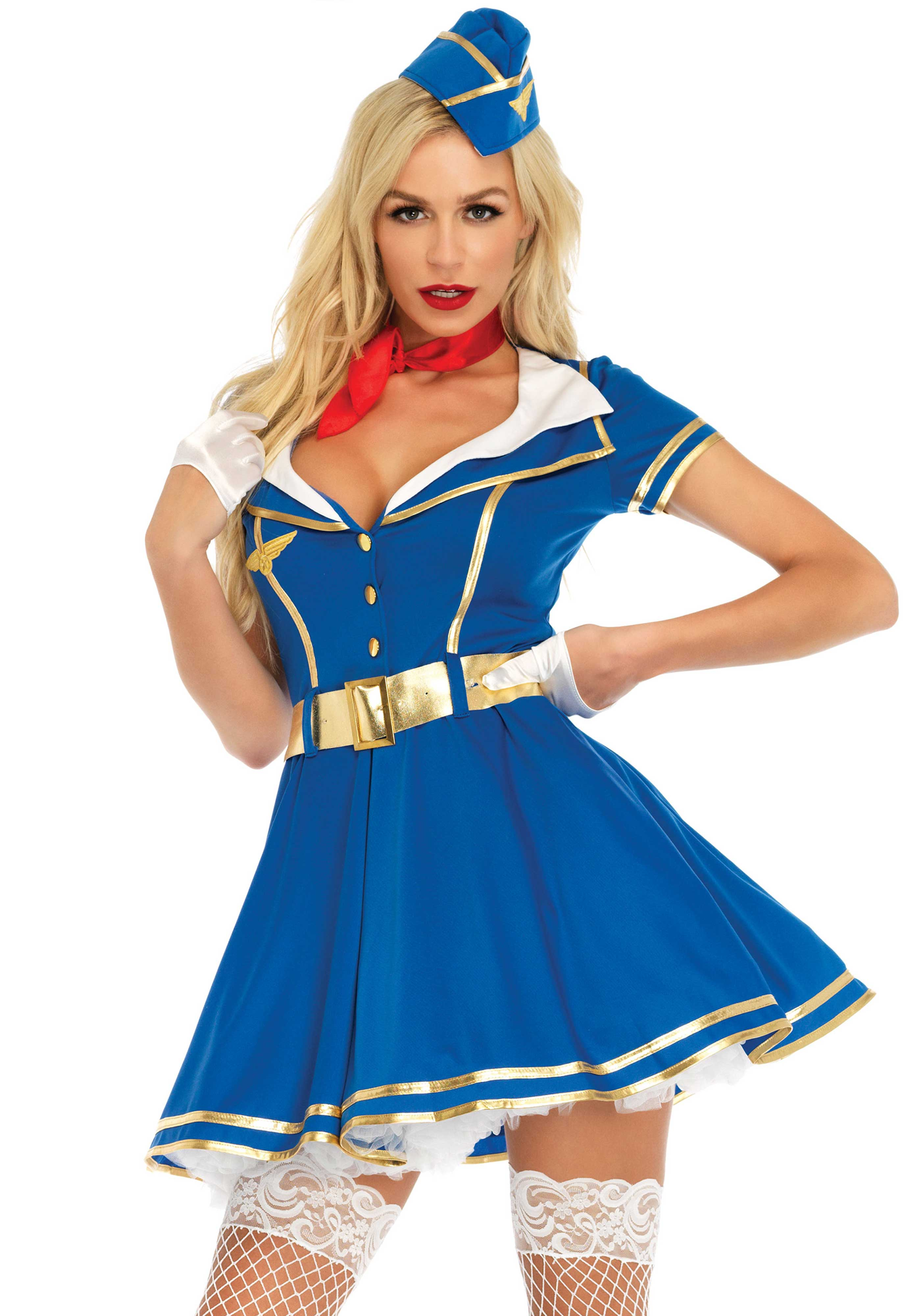 4PC. Sky High Hottie costume, includes retro gold trimmed dress with badge accent, belt, neck scarf, and matching hat.