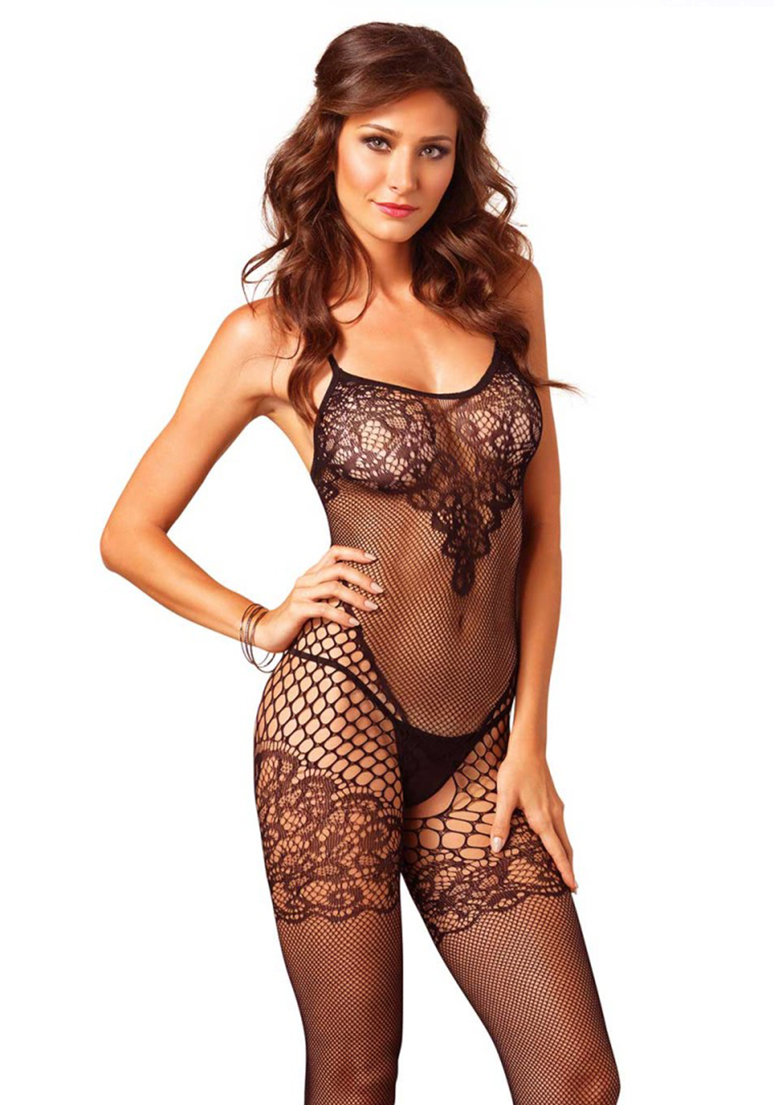 537b3104a Seamless bodystocking with different variantions of fishnet. The bodice and  garter have a lace detail ...