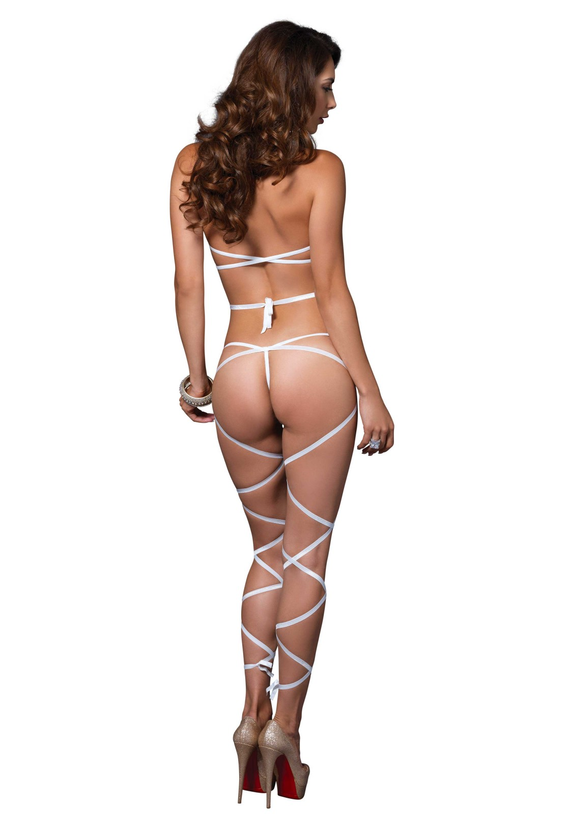 2 PC. Wrap around fishnet halter top and g-string leg wrap.