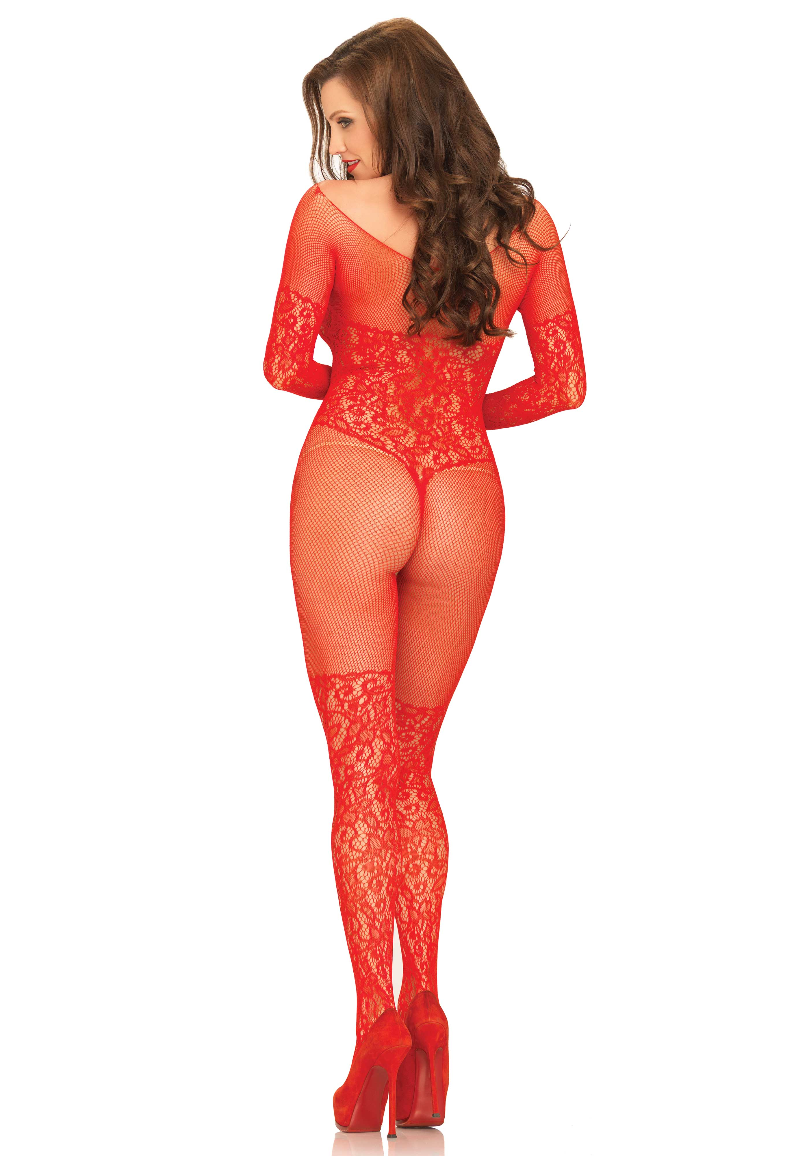 51c6ab0828 Vine lace and net long sleeved crotchless bodystocking.