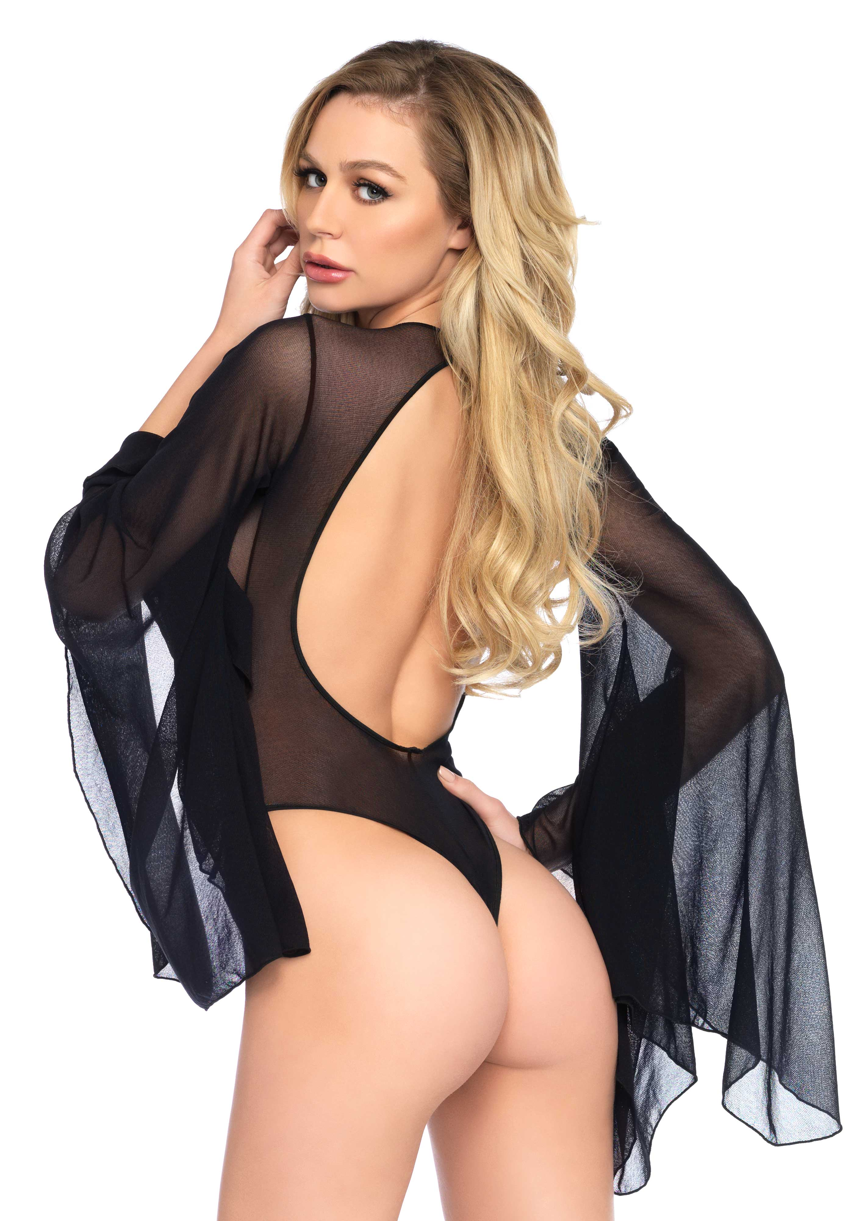 <p>Mesh bell sleeve thong back teddy with snap crotch and cotton gusset.</p>