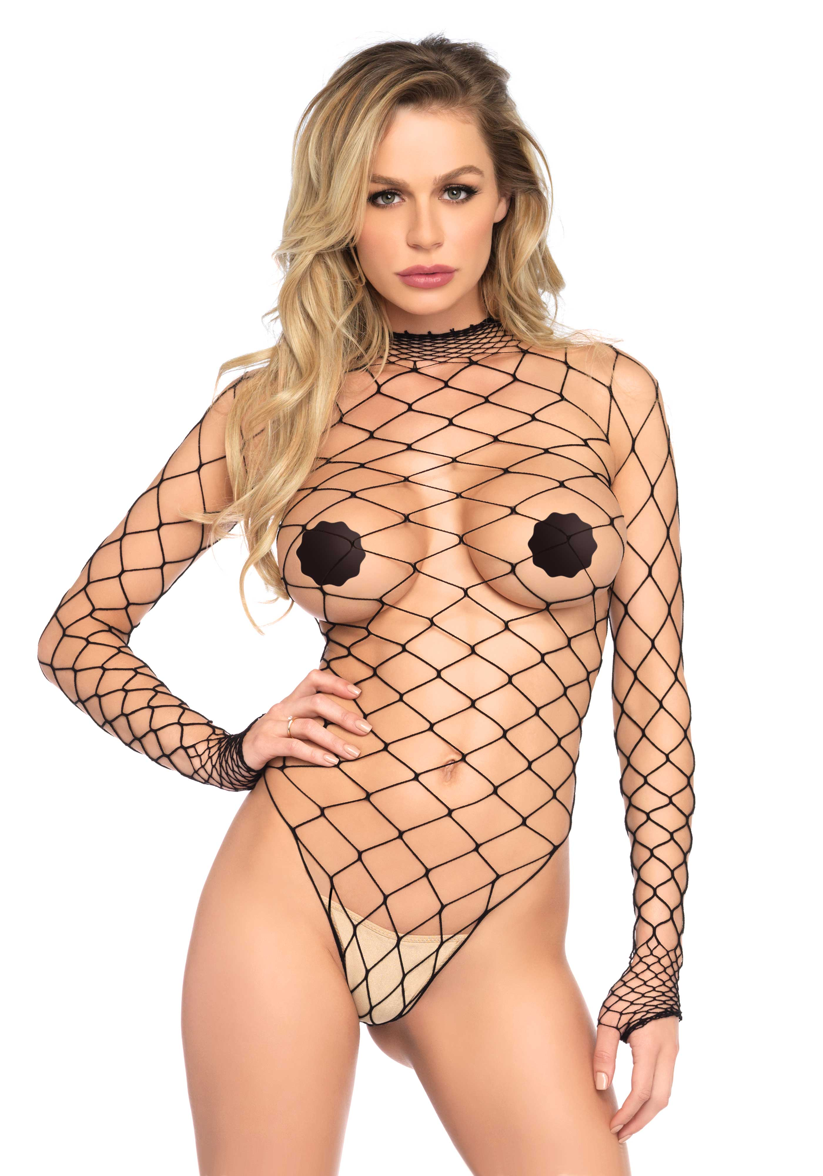 <p>High neck fence net long sleeved teddy with snap crotch.</p>
