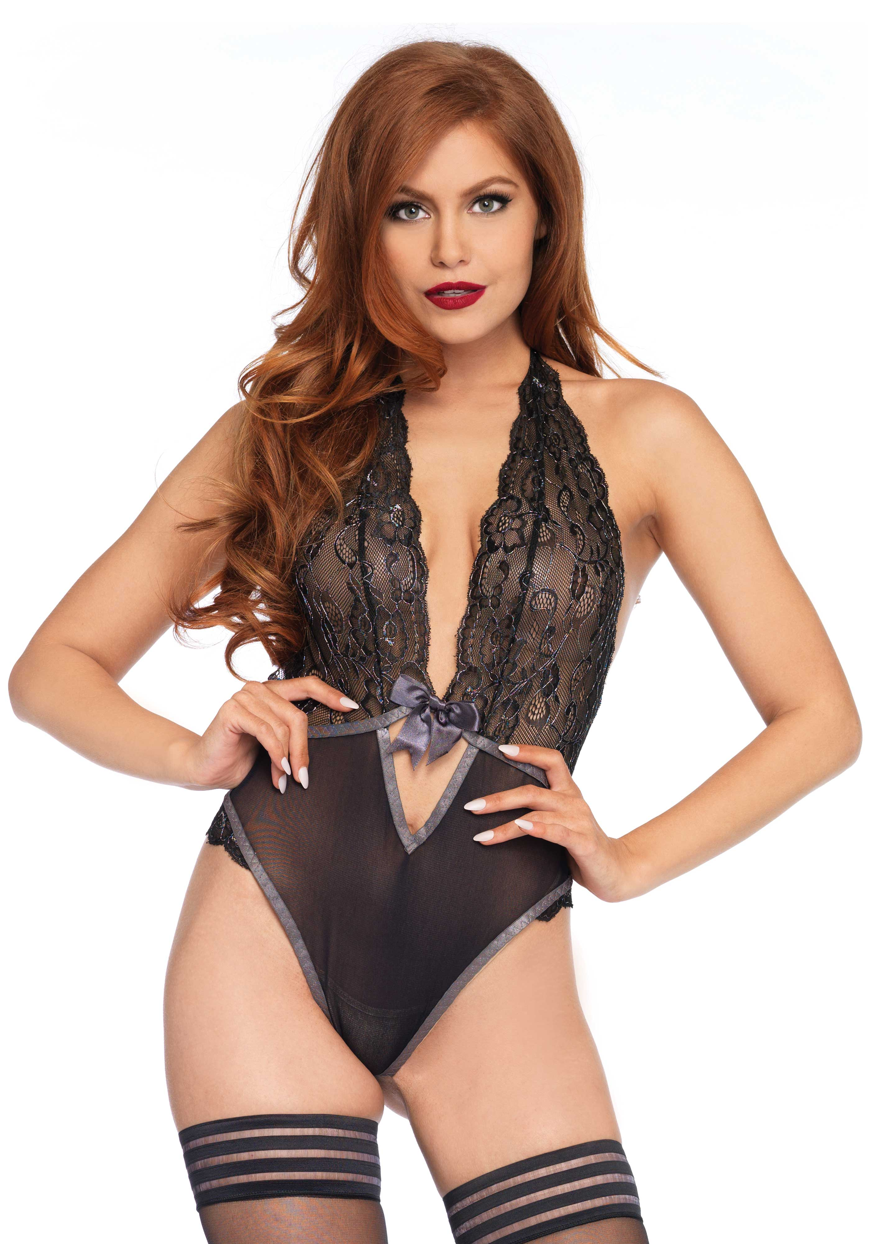 b395610b513  p Mesh and metallic lace halter teddy with satin bow closure and deep V ...