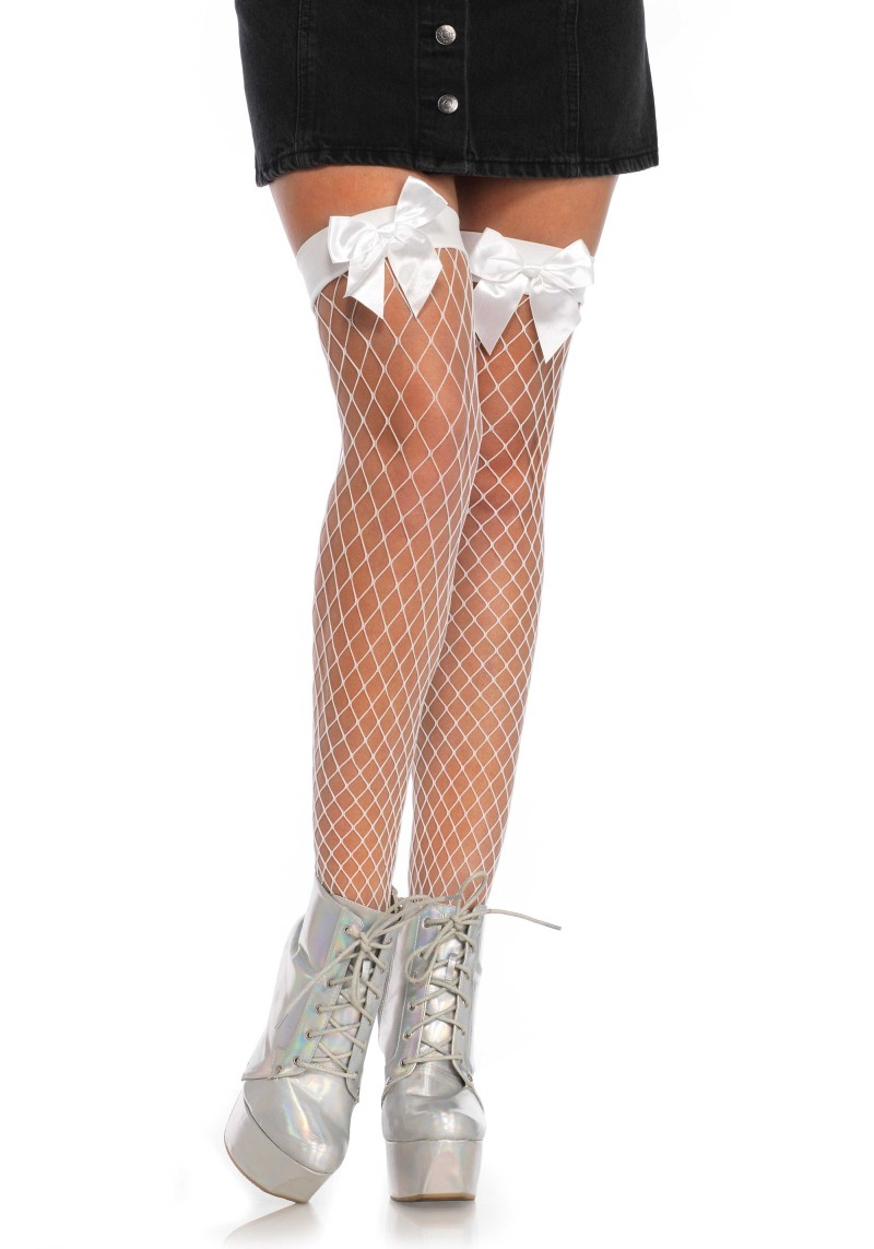 191420679 Net thigh highs with a bow top. Product Number 9078