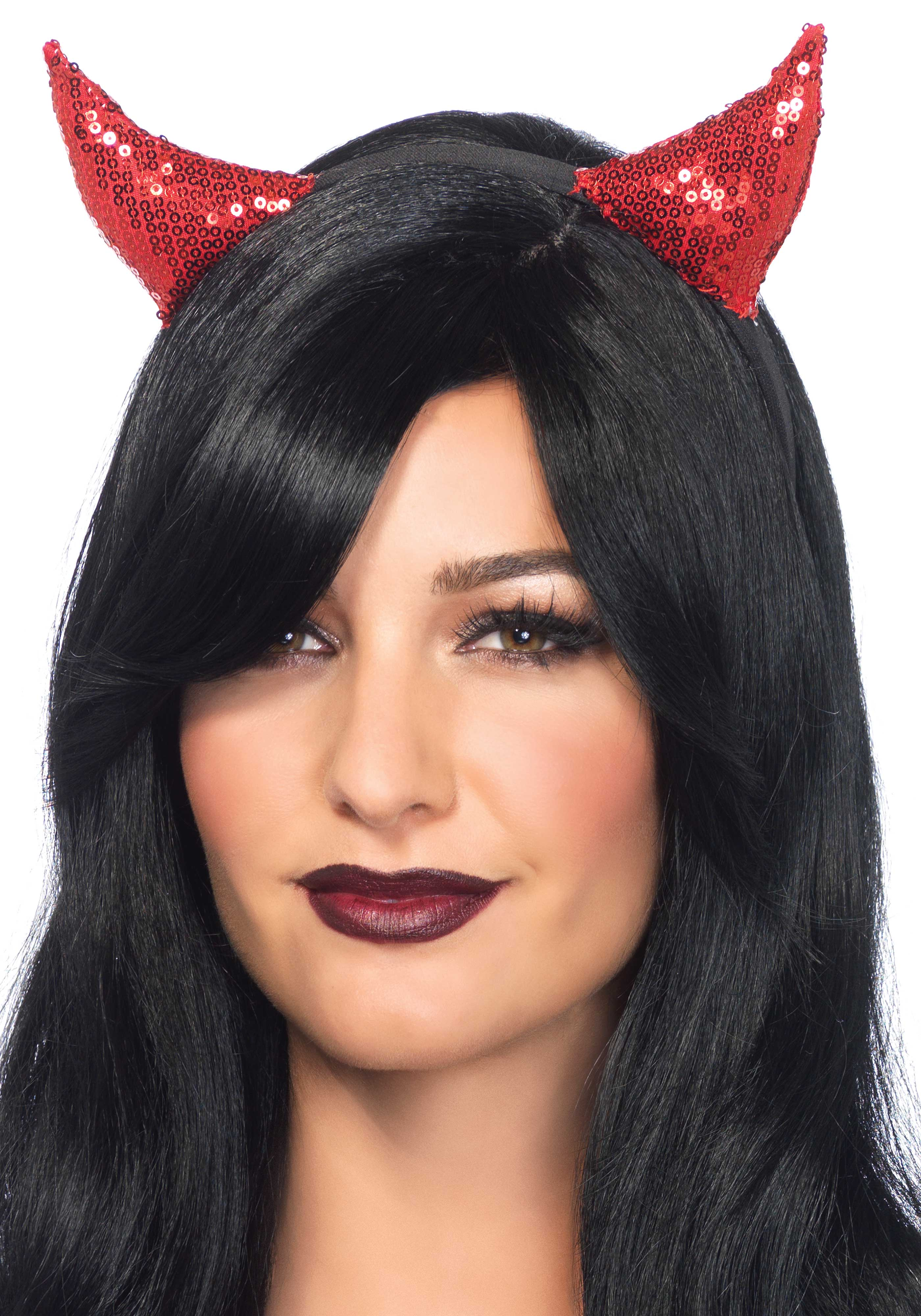 Headband with sequin devil horns.