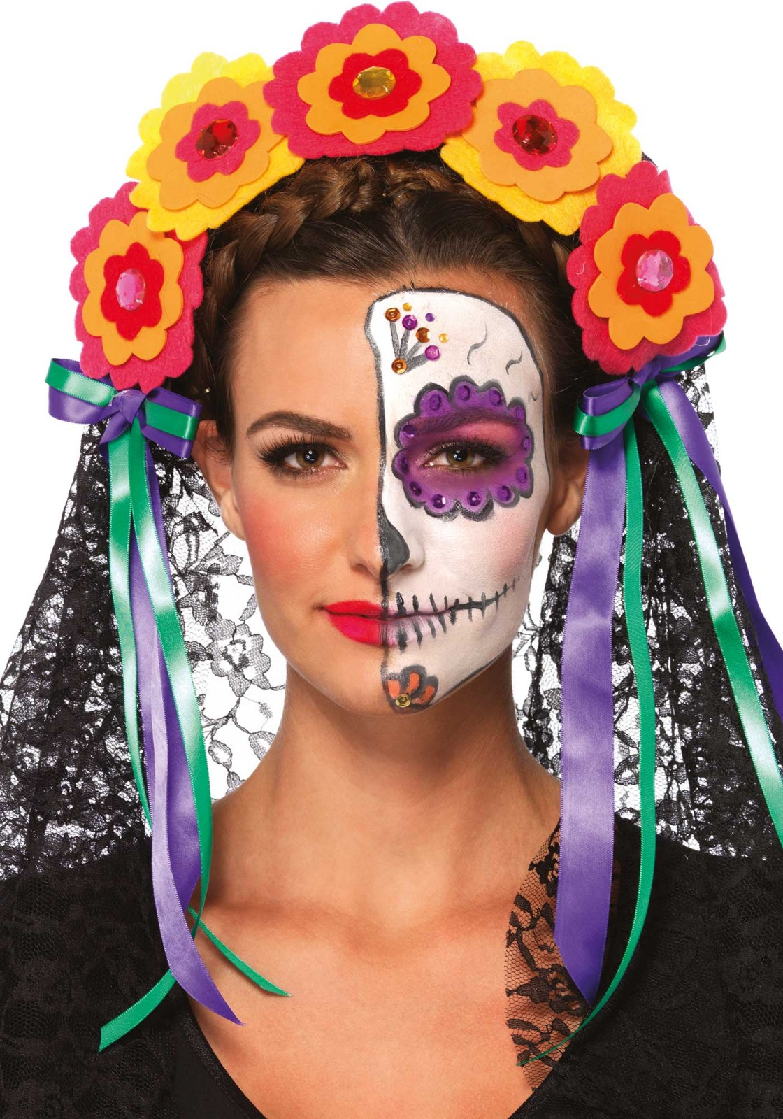 Day of the Dead flower headband with lace veil. This headband goes well with our 'Sugar Skull Bustier'.