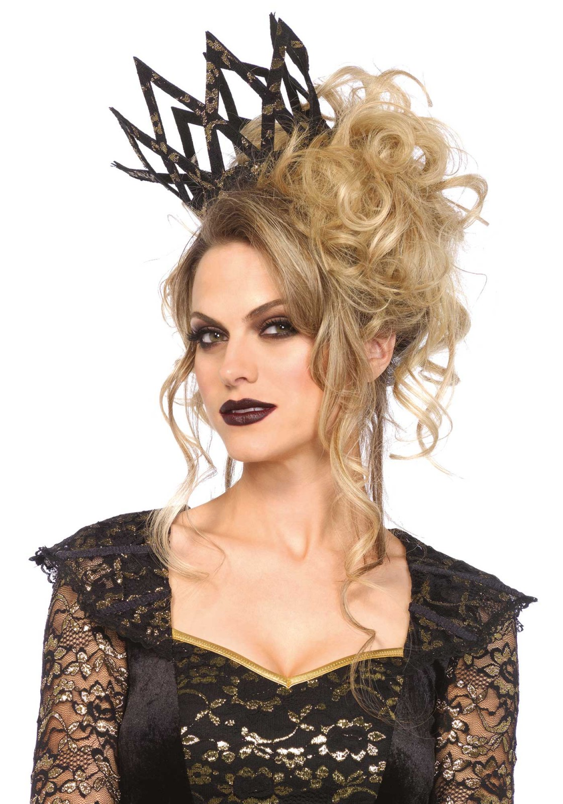 This crown is for the most powerful queens among us. This crown is covered with metallic lace. You have to secure this crown with bobby pins. Please take note that the bobby pins are not included.
