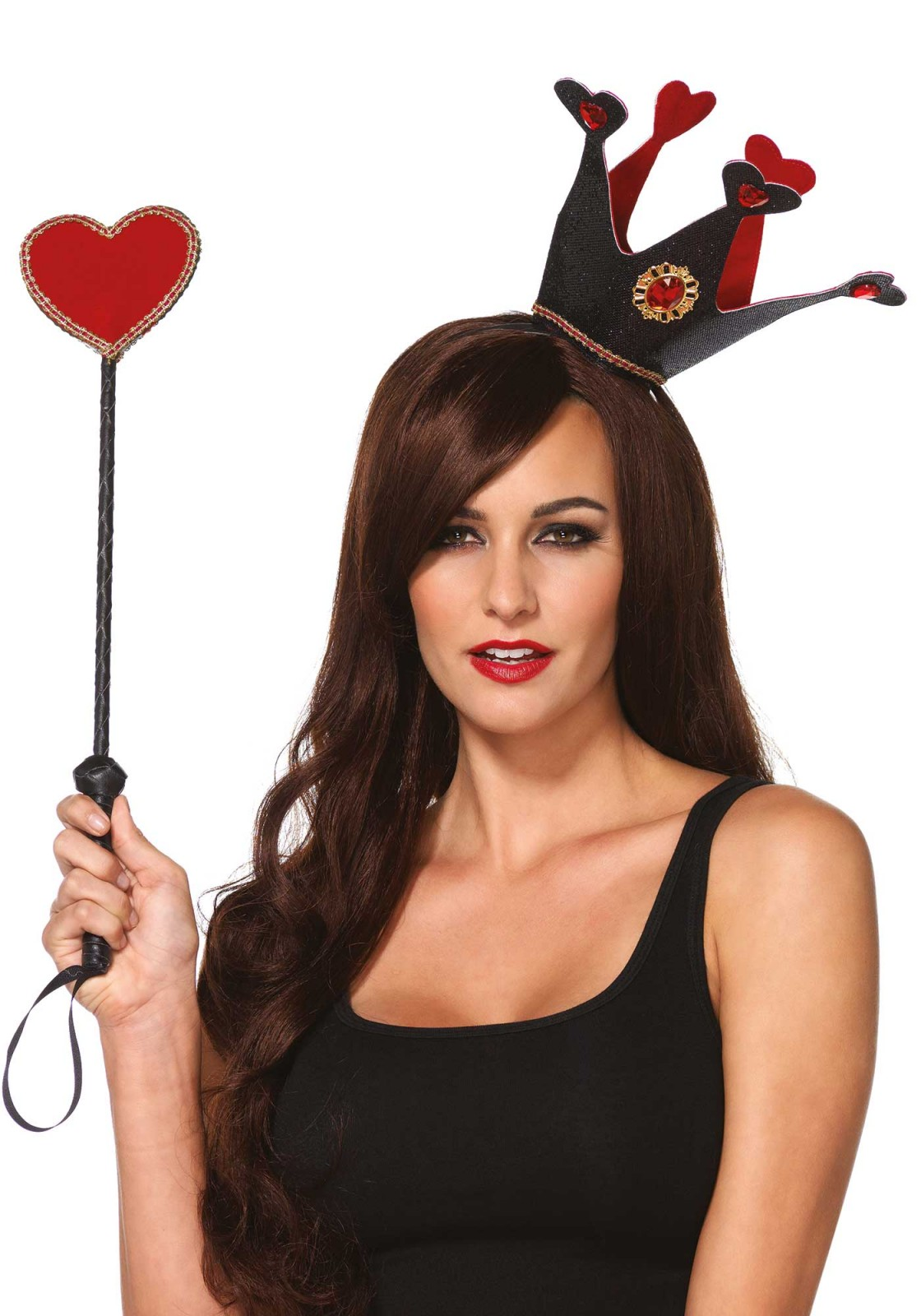 Get your queen of hearts look with this royal crown headband and heart scepter.