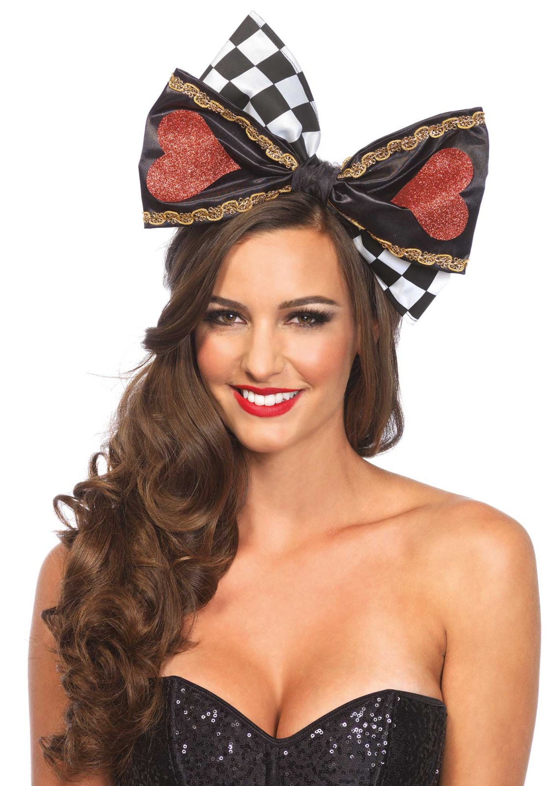 This oversized wonderland bow with glitter can be worn in different ways. It can be worn as a headband but the bow can also be pinned on clothing with a safety pin. This bow includes a headband and safety pin as well.