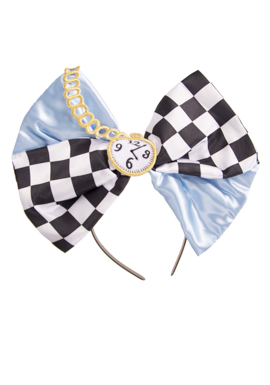 This oversized bow is well known from the Alice fairy-tale. The bow has an embroidered clock detail, and can be worn in different ways. It can be word as a headband but the bow can also be pinned on clothing with a safety pin. The bow includes a headband and safety pin.