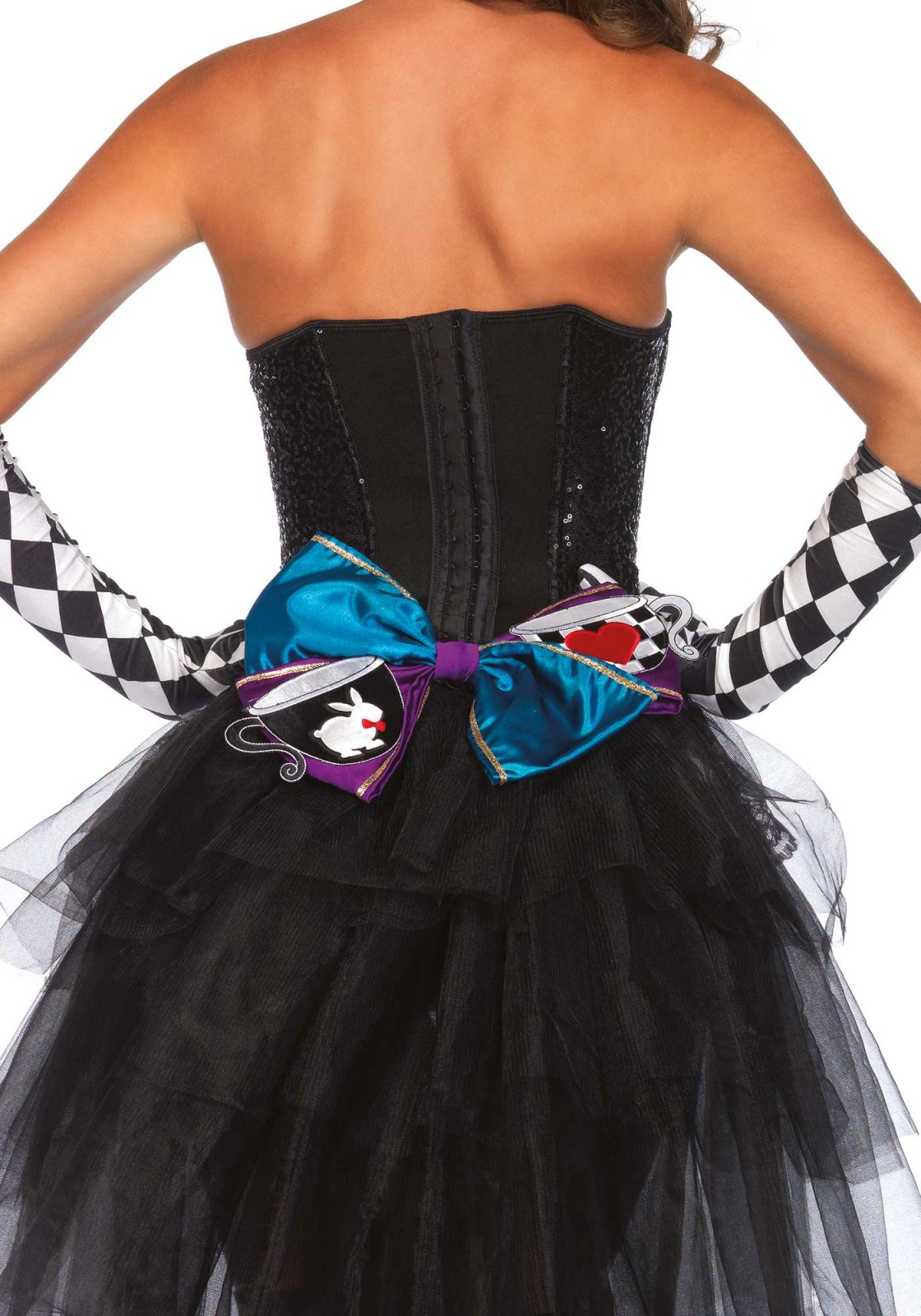 This oversized bow is well known from the famous tea party in Wonderland, it's a fun accessory to any outfit. The bow can be worn in different ways. It can be word as a headband but the bow can also be pinned on clothing with a safety pin. The bow includes a headband and safety pin.
