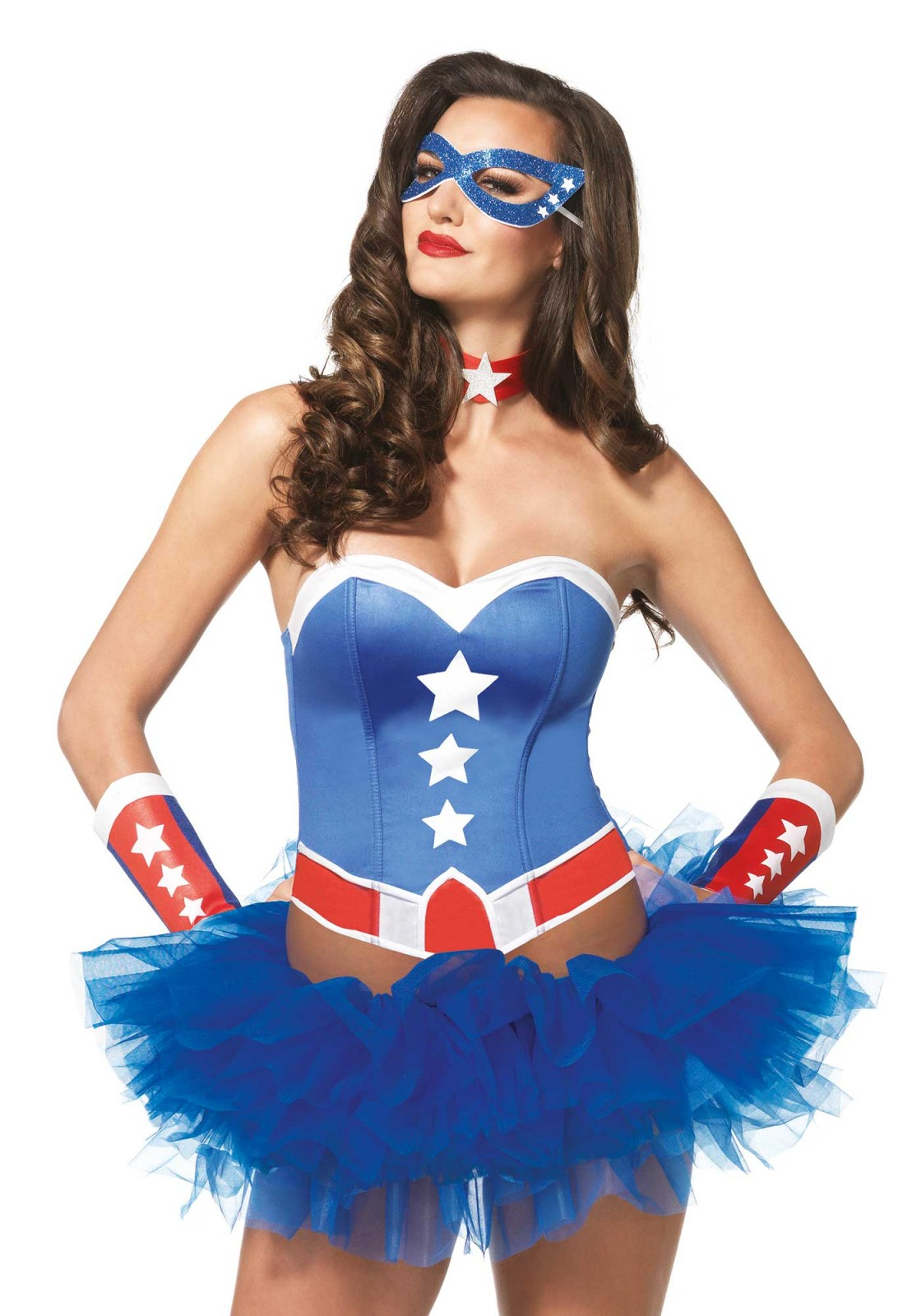 This American hero stepped right out a comic book. This marvel super hero accessoiries kit includes a patriotic bustier with star accenst, arm cuffs, star choker and matching eye mask. Please take not that the tutu is not included.