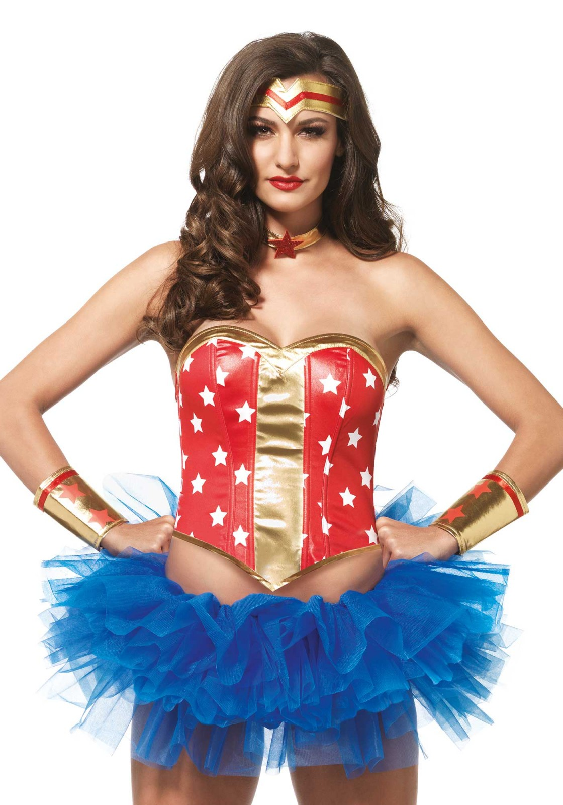 Saving the world was never this easy. This Super Star Hero accessoiries kit is all you need. This marvel kit includes a star print bustier, golden arm cuffs, choker with a star, and a matching headband. Please take note that tutu and leggings are not included.