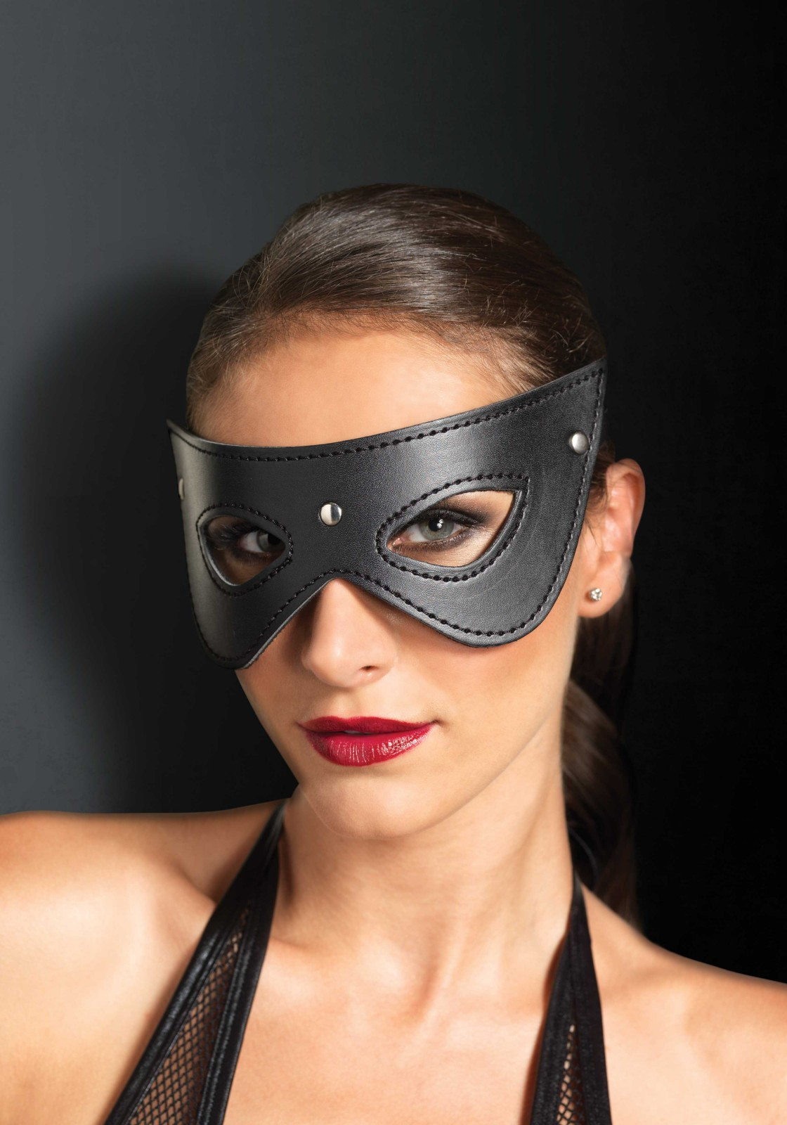 Faux Leather Studded Eye Mask