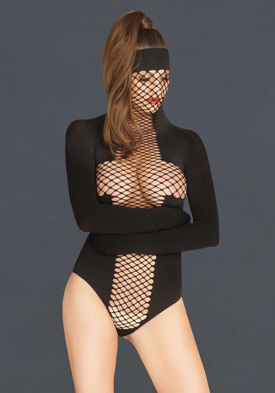 Opaque and net masked teddy with wrap around restraint sleeves.