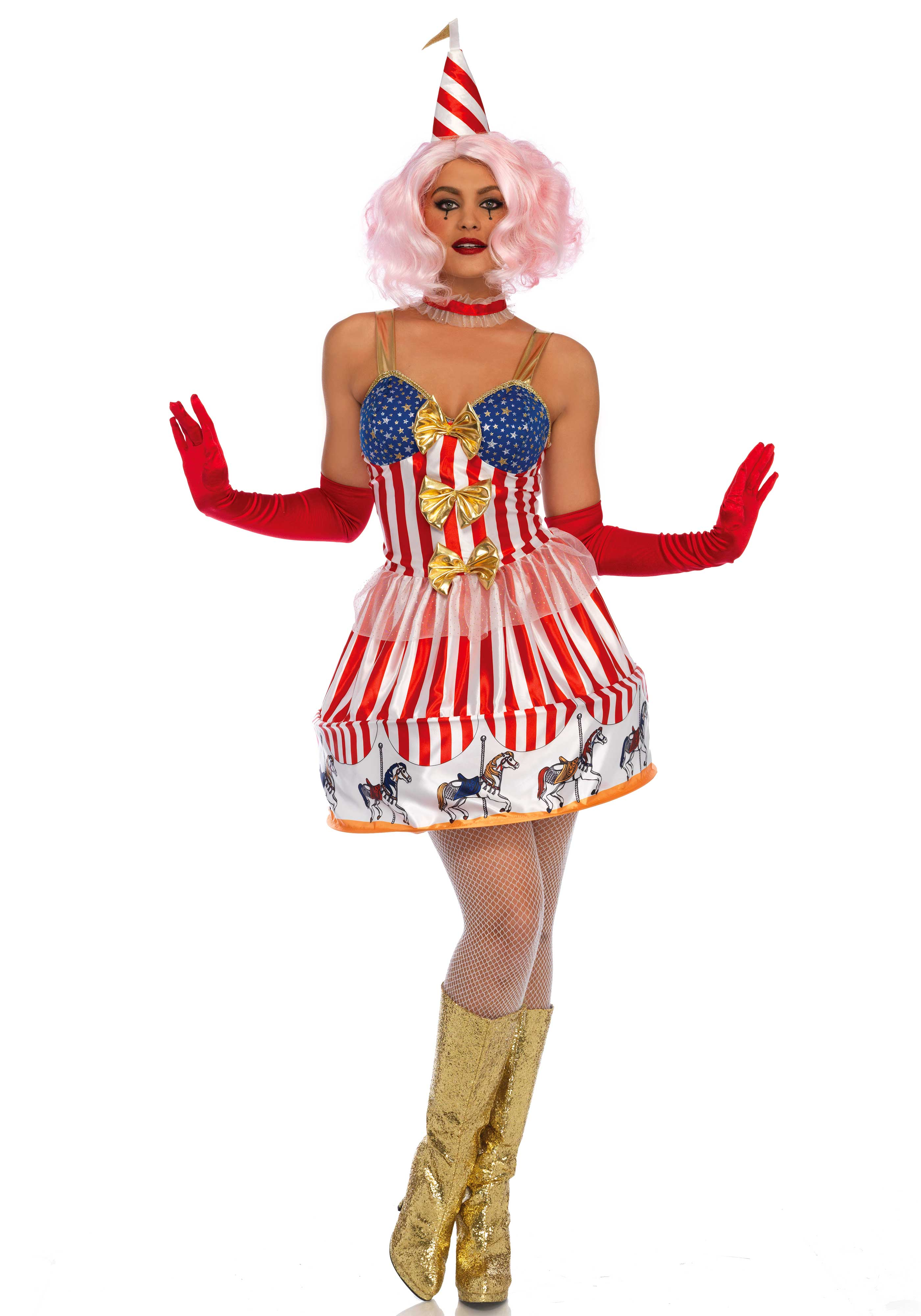 3 PC. Carousel Clown costume, includes a circus themed dress with carousel hoop skirt and golden bows, ribbon choker and matching hat with flag on top.