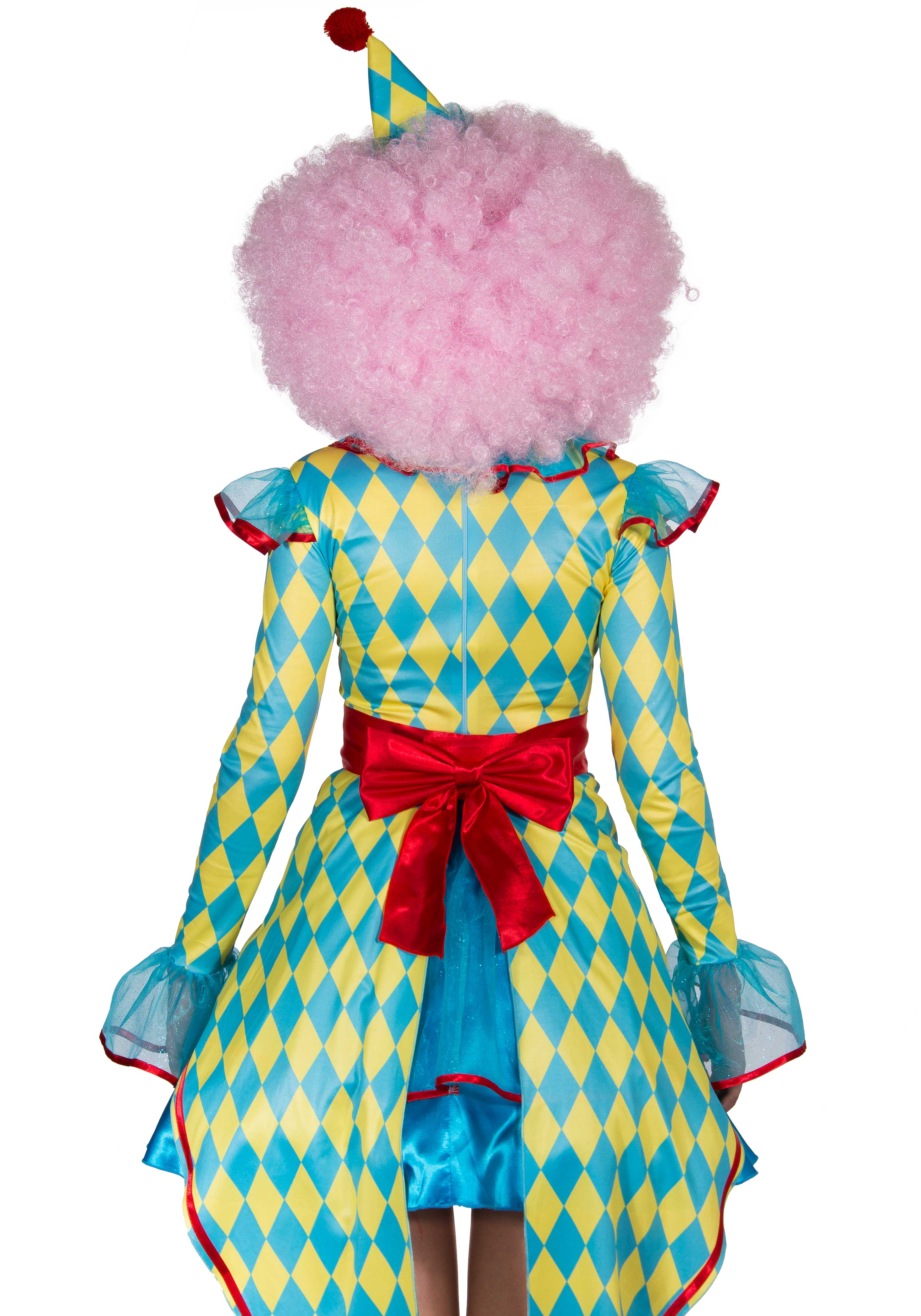 4 PC. Deluxe Carnival Clown costume, includes diamond print dress with tux tails and button accent, belt, chiffon ruffle neck piece and pom pom hat.
