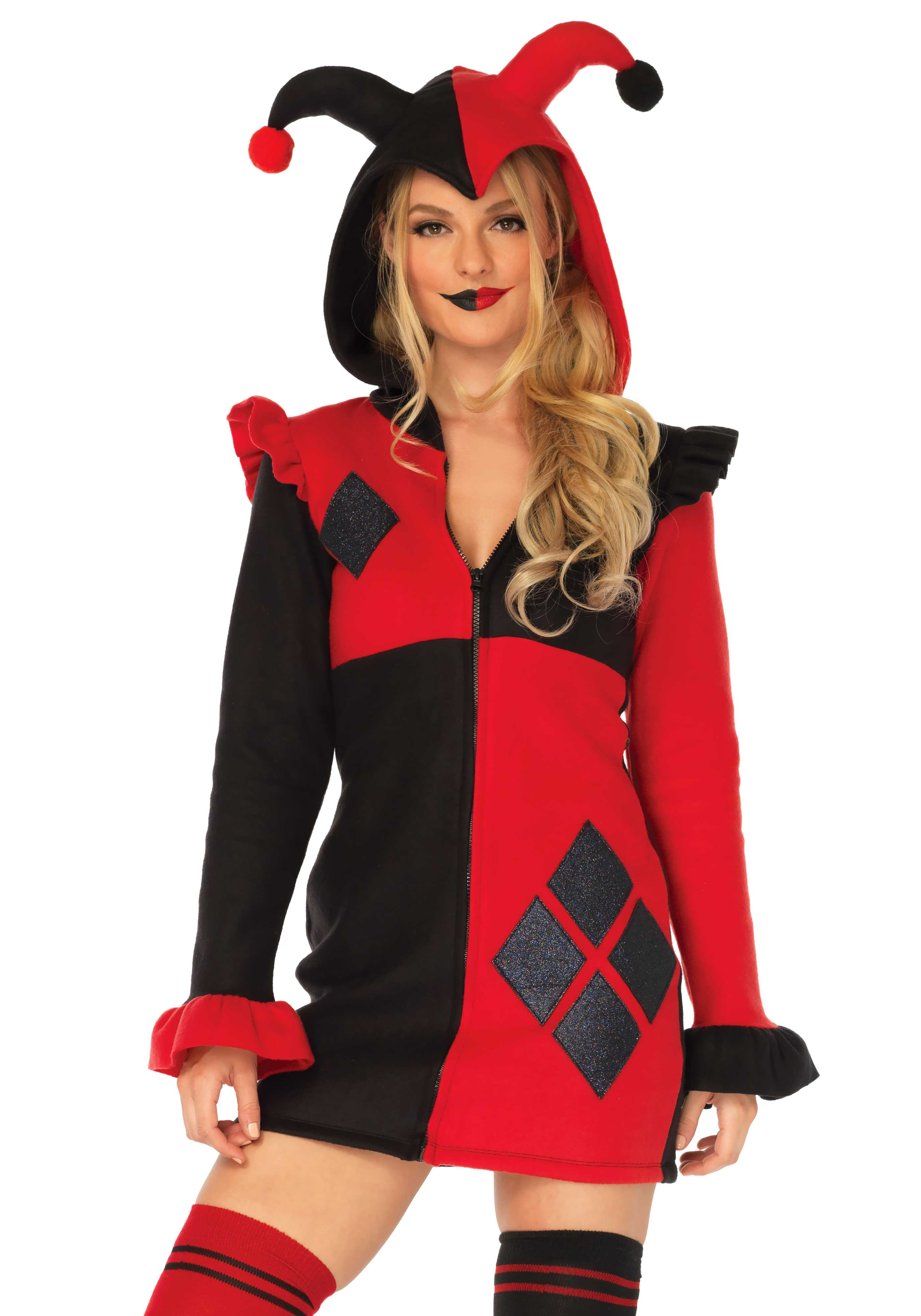 Harlequin cosy fleece costume, includes a zipper front fleece dress with shiny diamond accents, ruffle shoulder accents and harlequin horn hood.