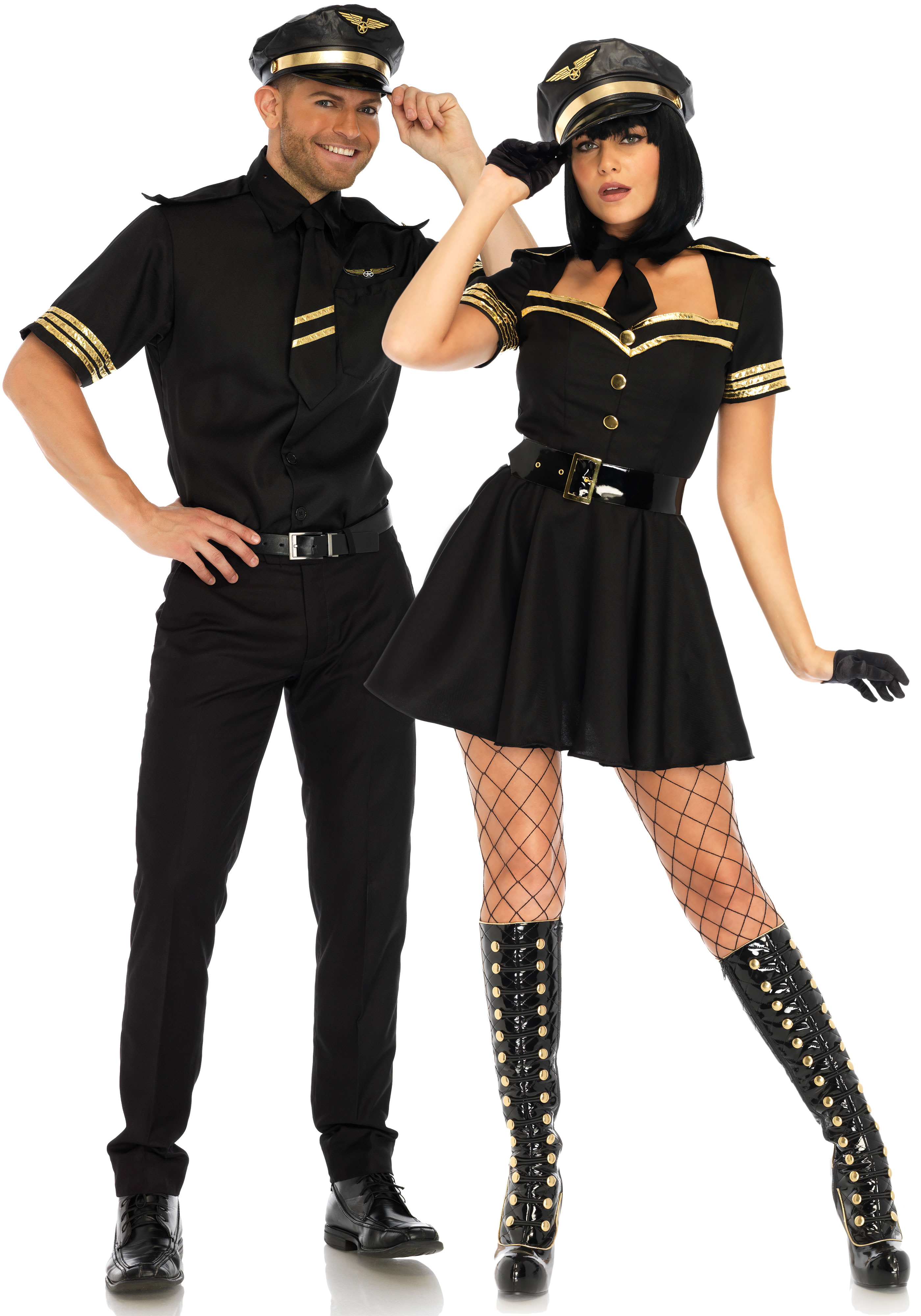 3 PC. Flirty Flight Captain costume, includes gold trimmed dress with keyhole accent with attached neck tie, belt and matching hat with wing detail.