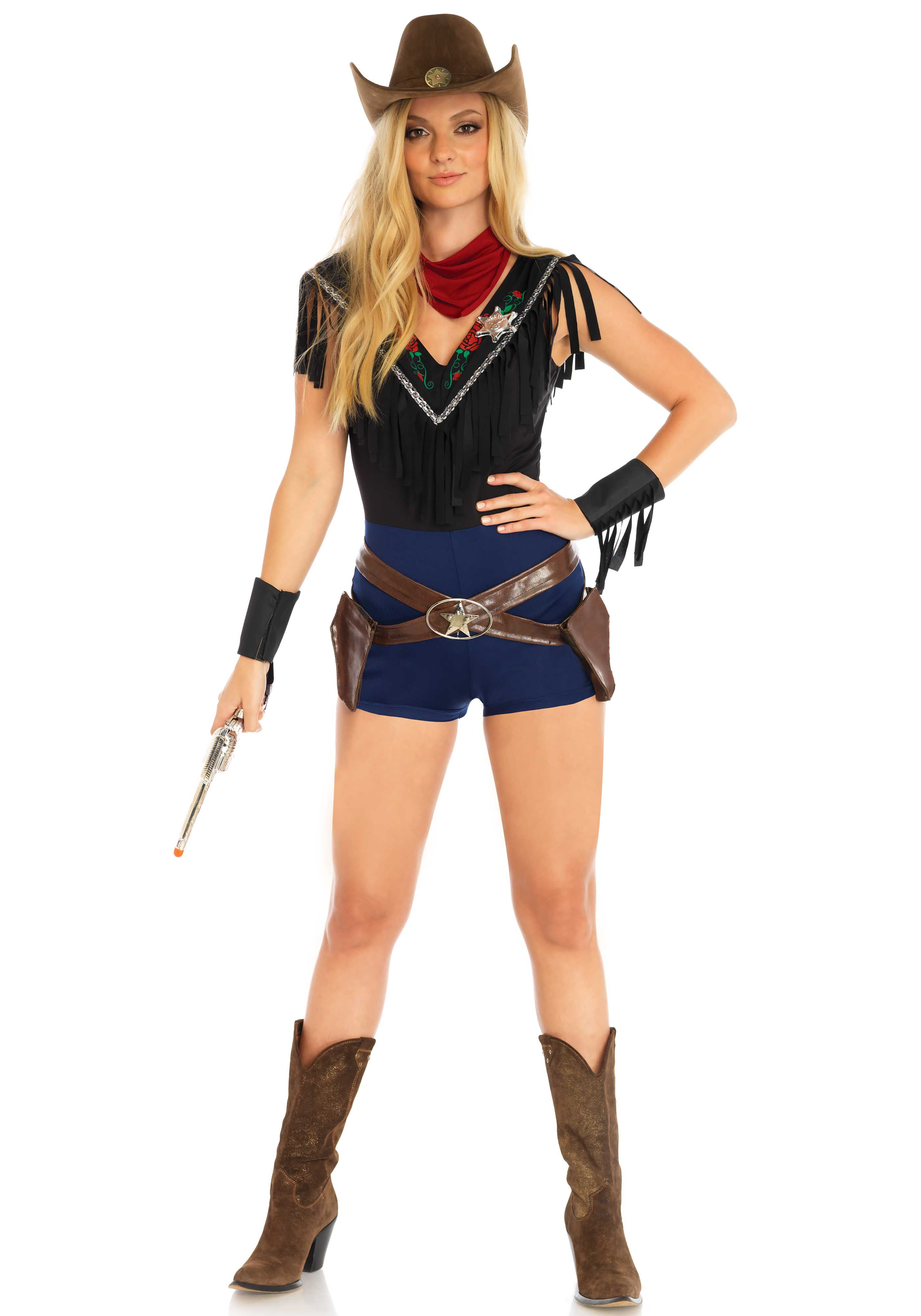 4 PC. Wild West Sheriff costume, includes romper with floral accents and fringe trim and badge, belt with holsters and star buckle, arm cuffs and neck piece. (toygun not included)