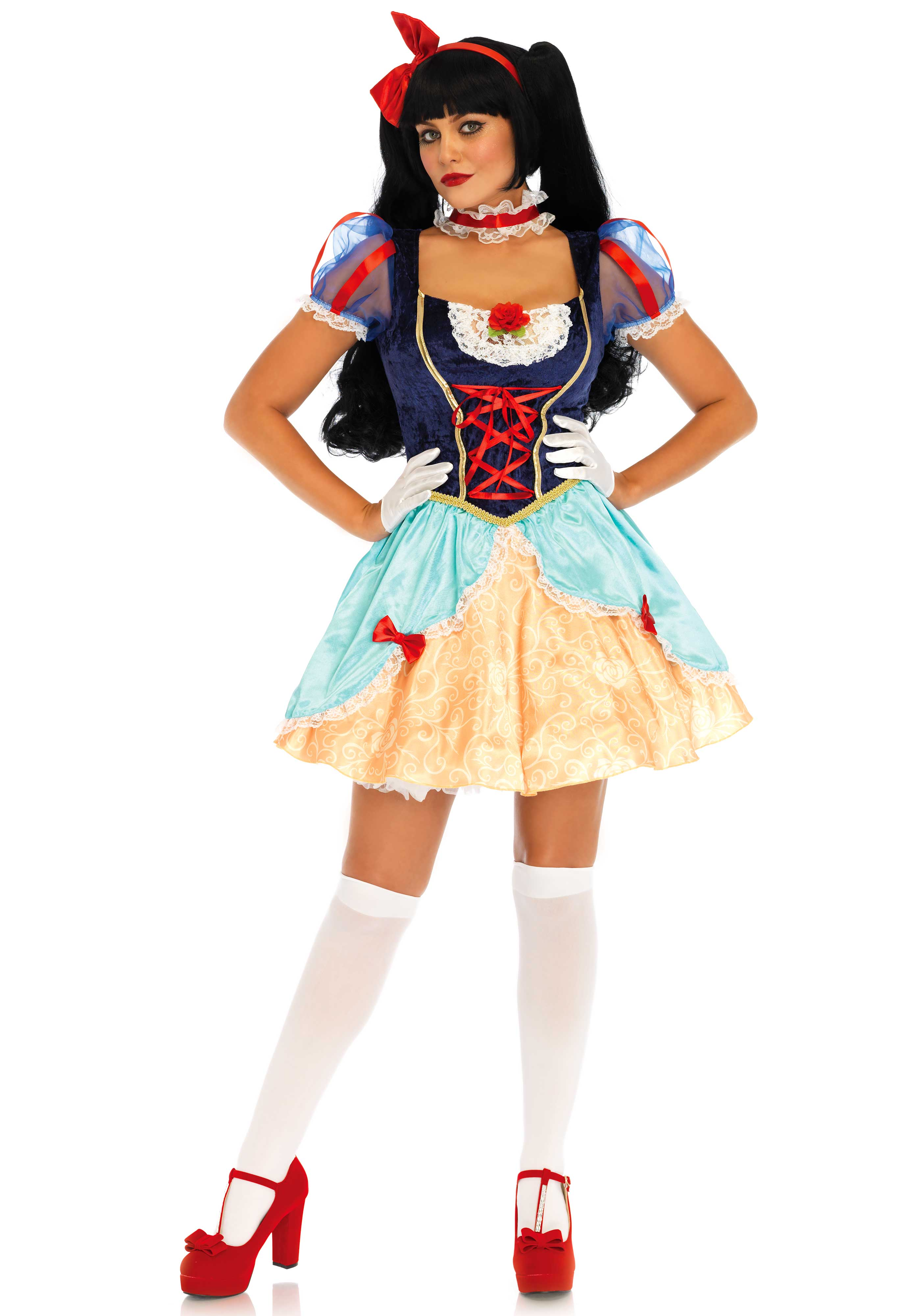 4 PC. Deluxe Lolita Snow White costume, includes velvet and satin layered dress with tule puff sleeves, detachable back bow, lace choker and bow headband.
