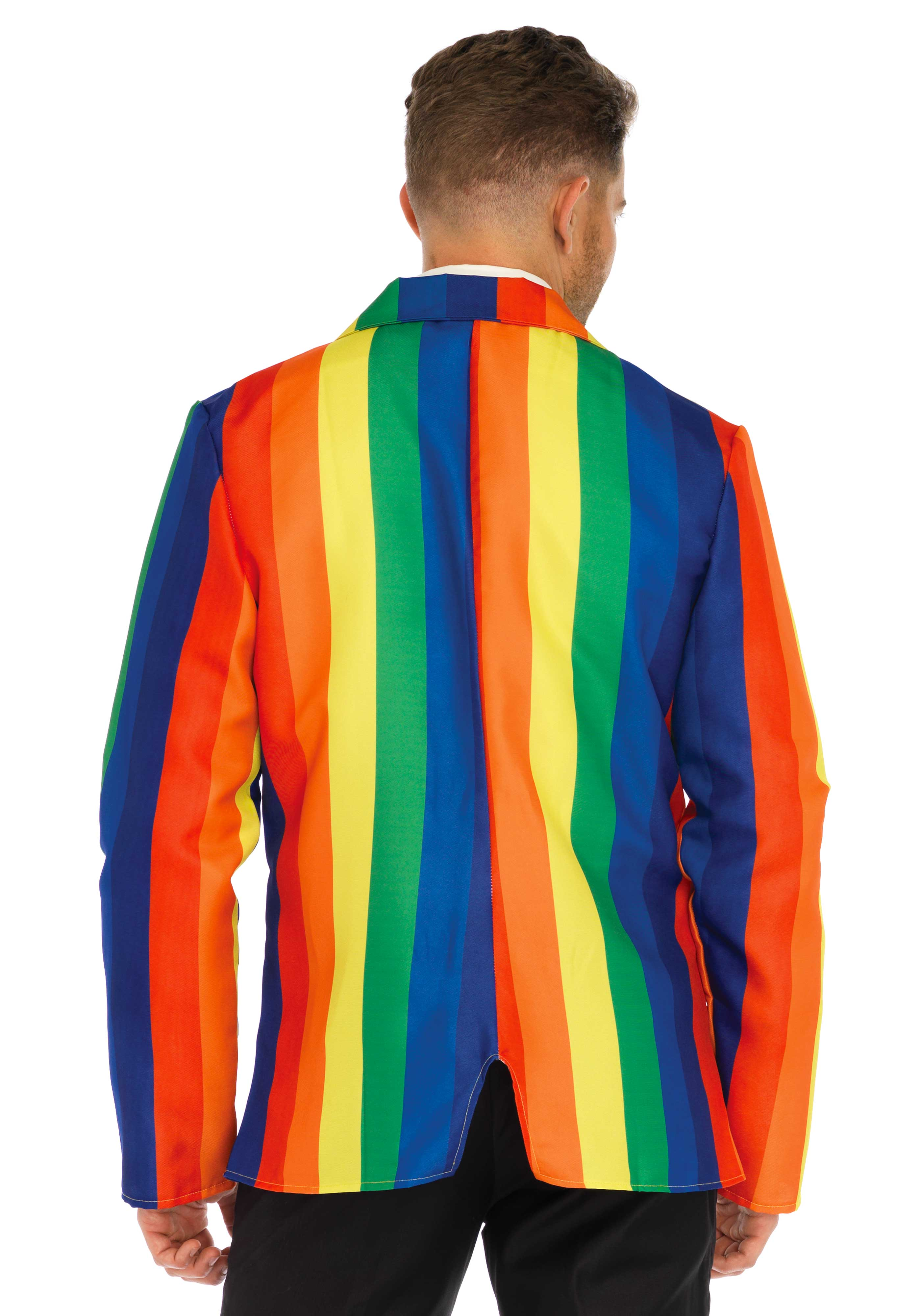 2 PC. Rainbow Suit, includes suit jacket and matching striped tie.