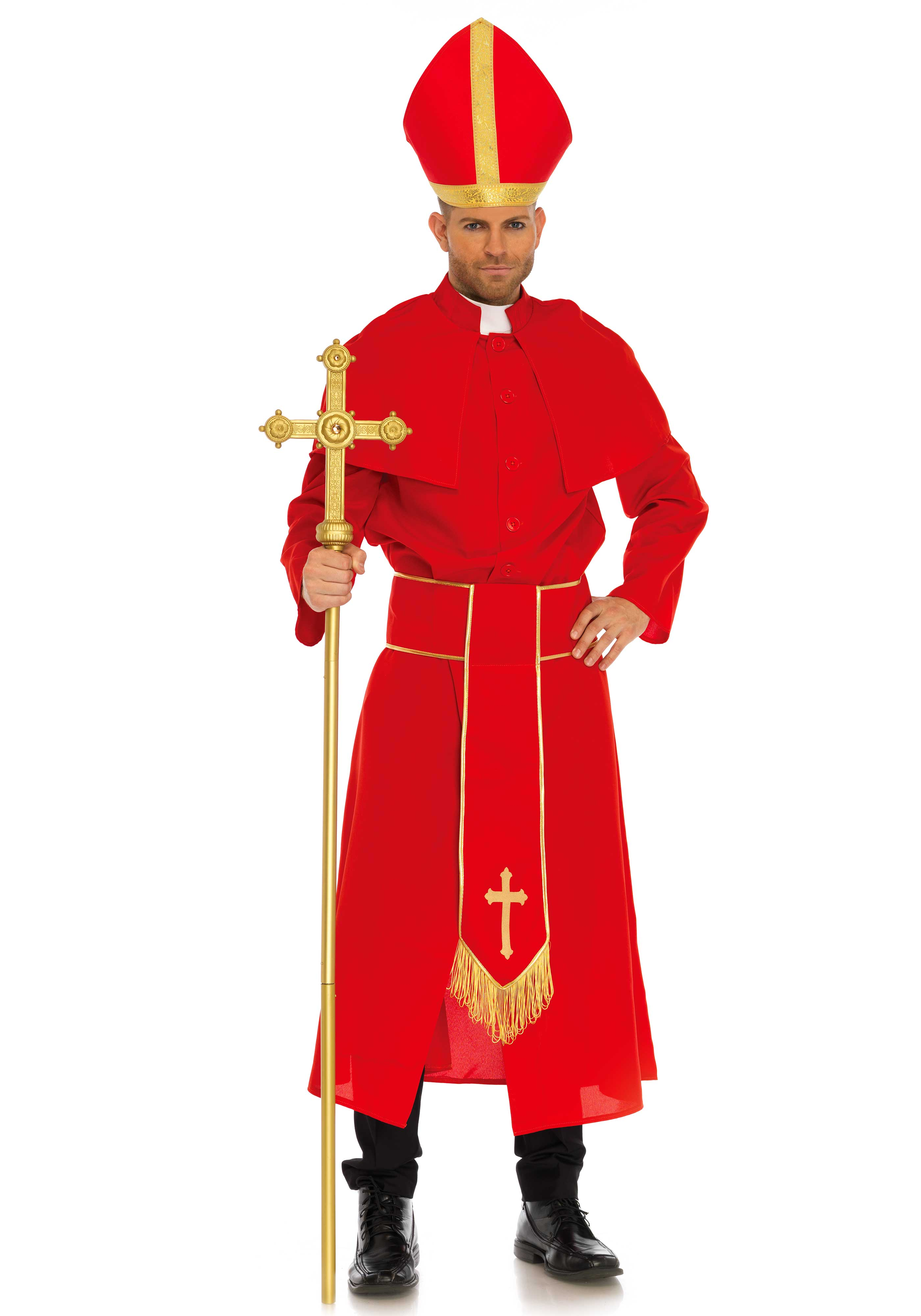 3 PC. Cardinal costume, includes robe with attached cape, belt with golden cross and fringes and matching hat with golden trims.