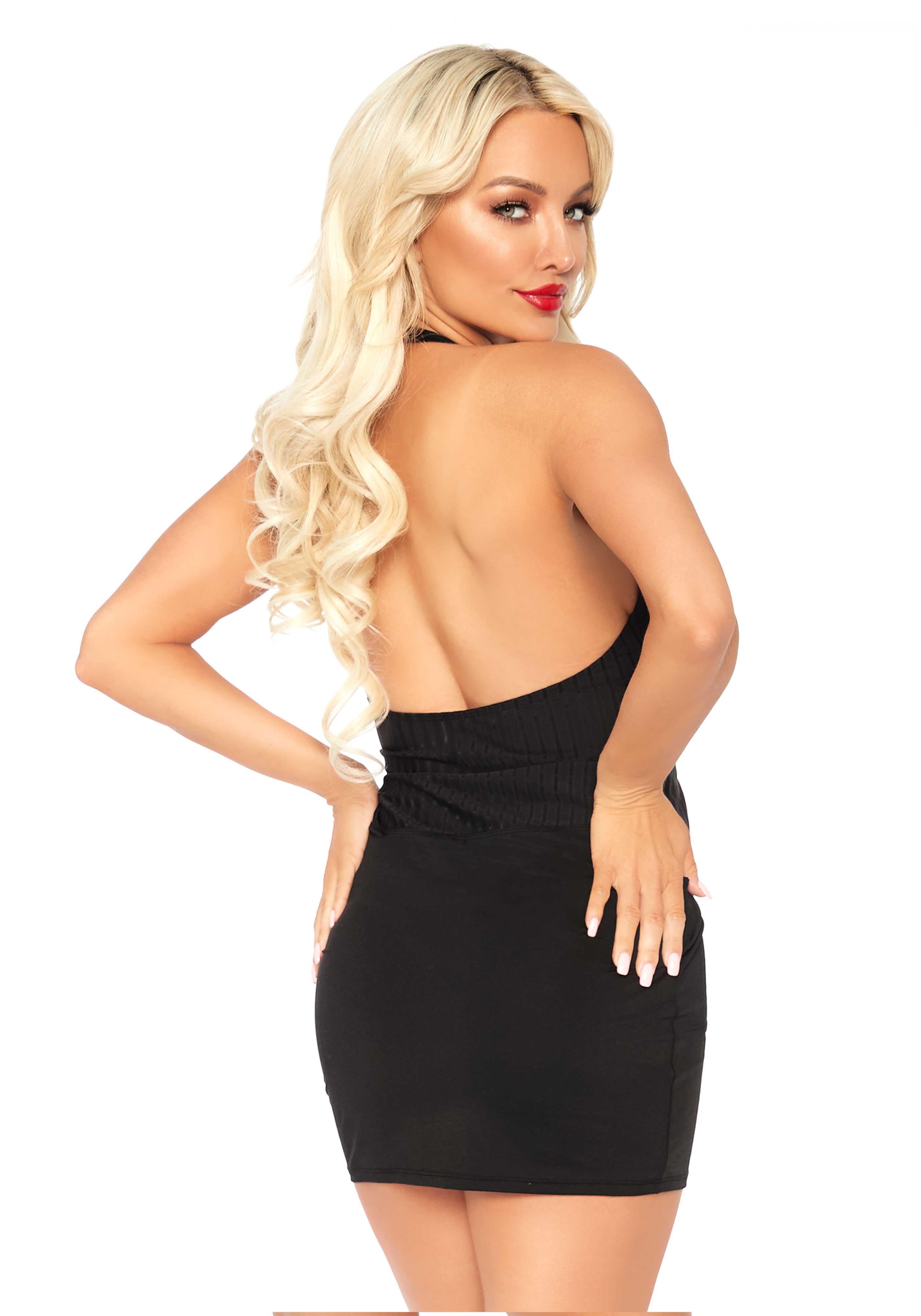 <p>Ribbed deep-V backless halter mini dress.</p>