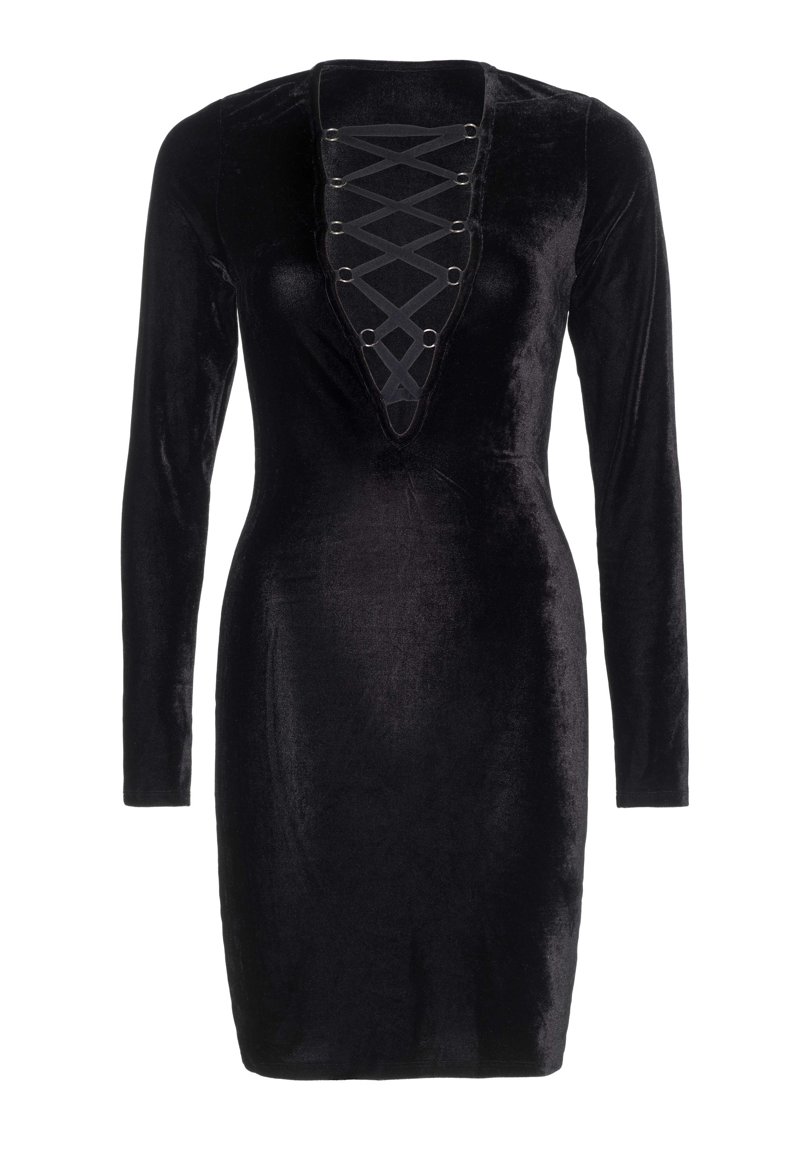<p>Velvet long sleeved lace up deep-V mini dress.</p>