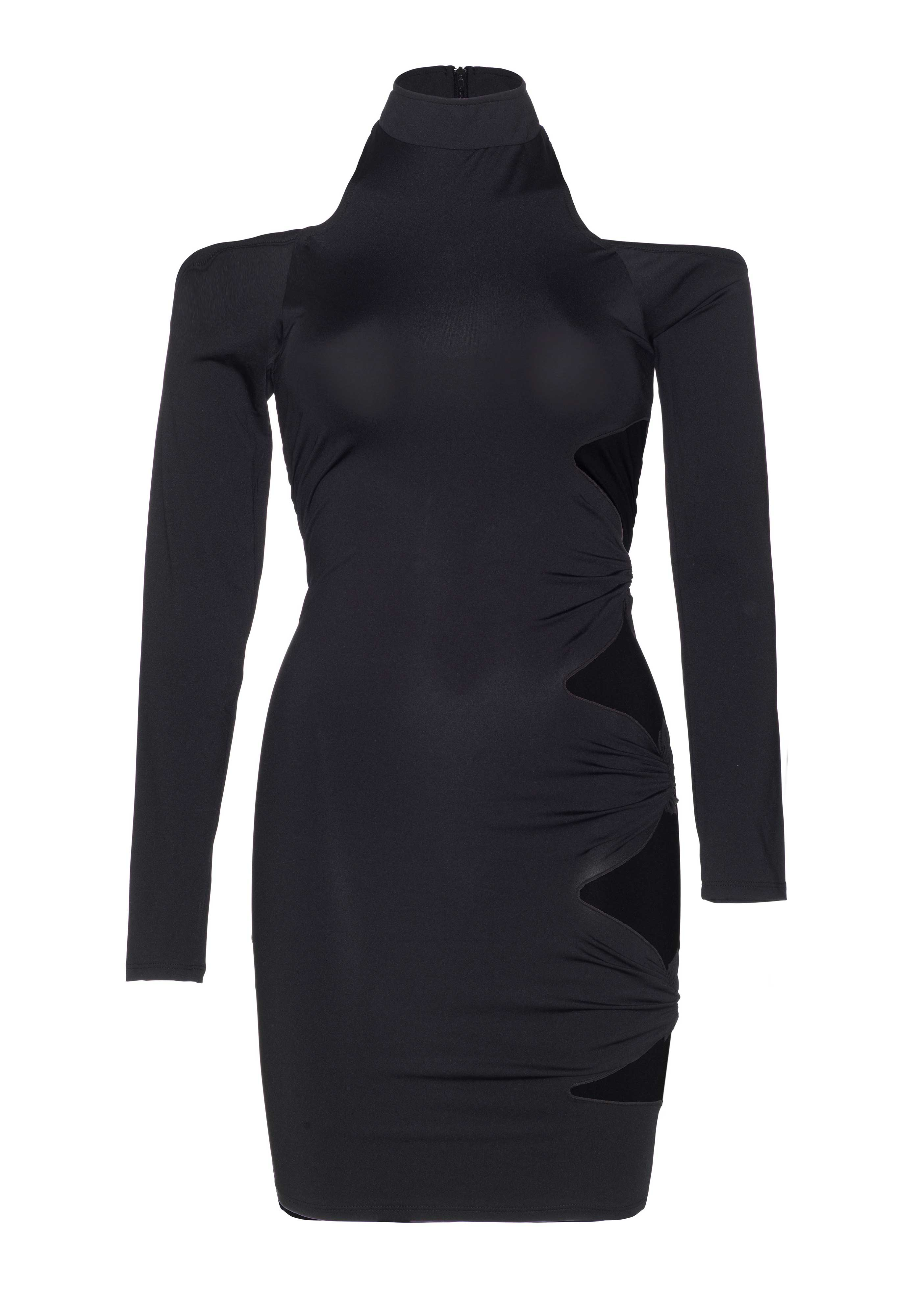 <p>Long sleeved cold shoulder mini dress with side cut outs.</p>