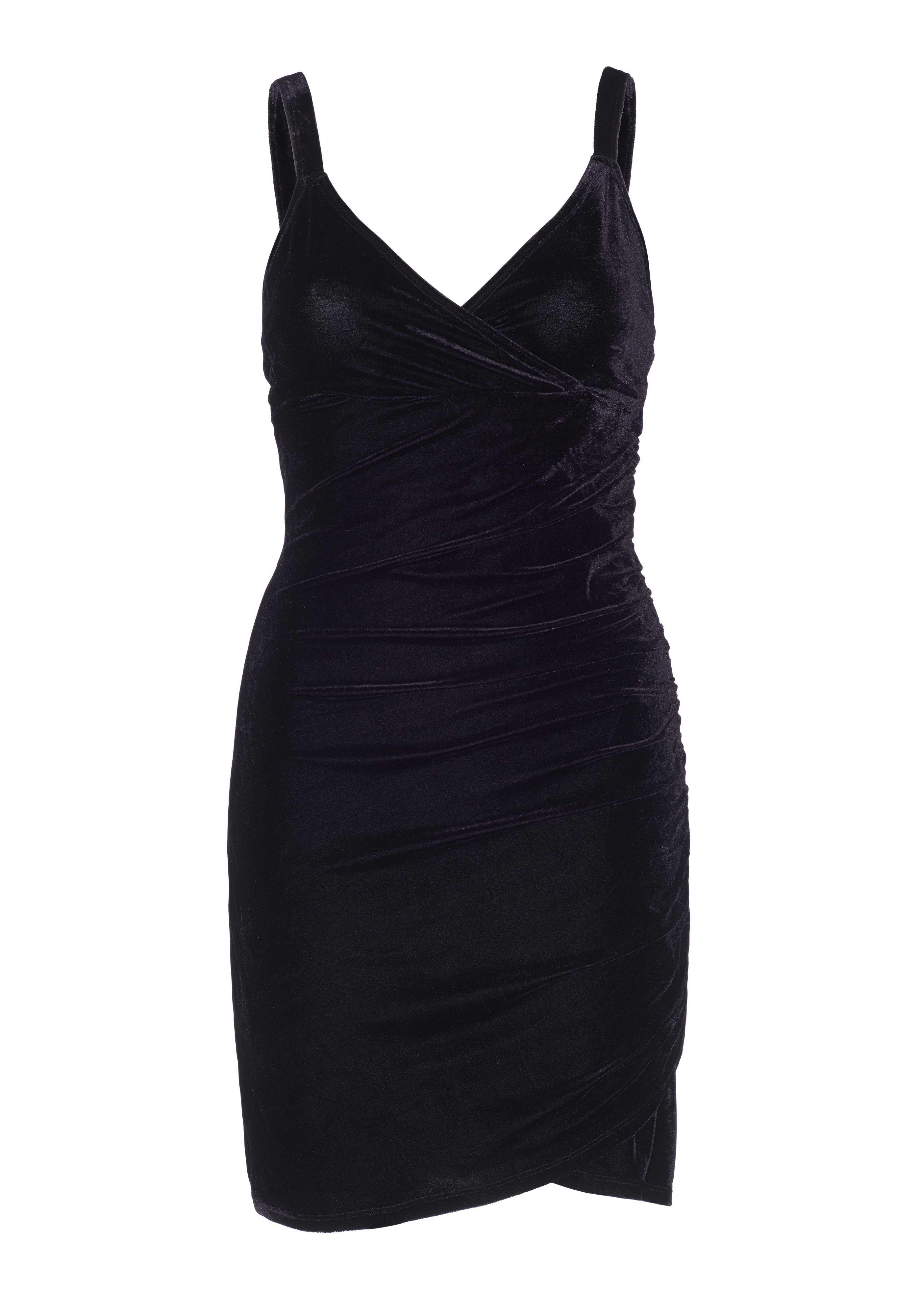 <p>Velvet faux wrap mini dress.</p>