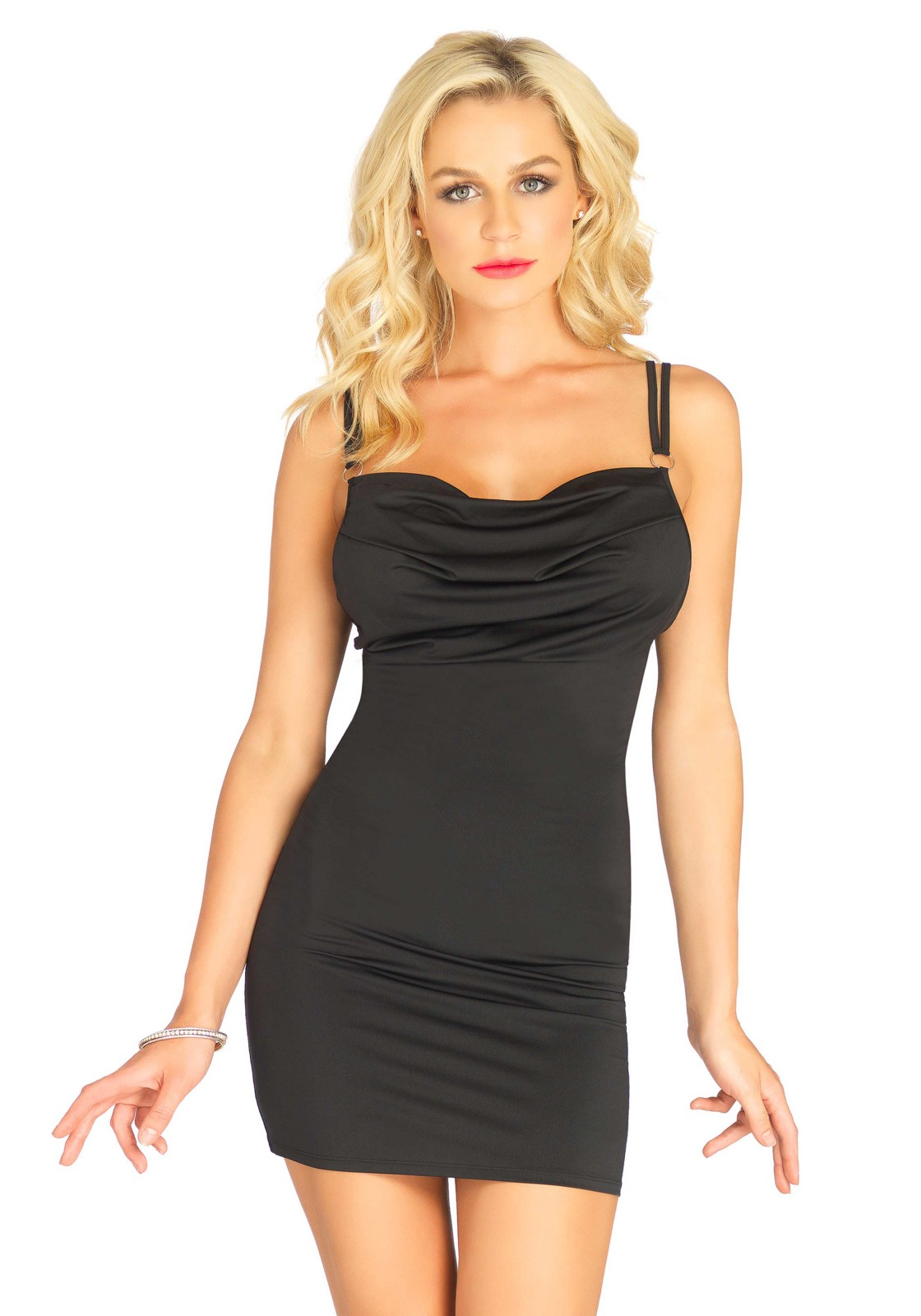 Dress Chiara is a spandex bodycon dress with drape front, ring detail and adjustable straps.  The length measured from the shoulder is 80 cm/ 31.5 inch. The model has a length of 182 cm/ 70 inch and is wearing a size S.