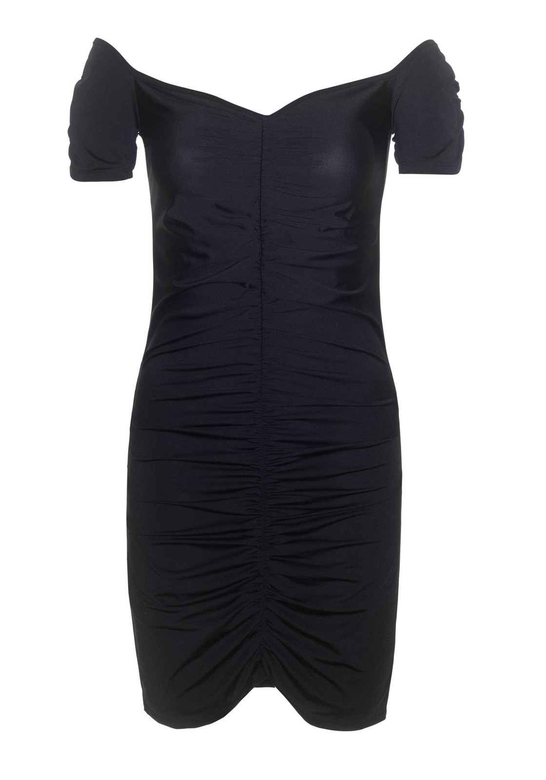 Dress Laverne is a ruched off the shoulder spandex bodycon dress.  The length measured from the shoulder is 80 cm/ 31.5 inch. The model has a length of 182 cm/ 70 inch and is wearing a size S.