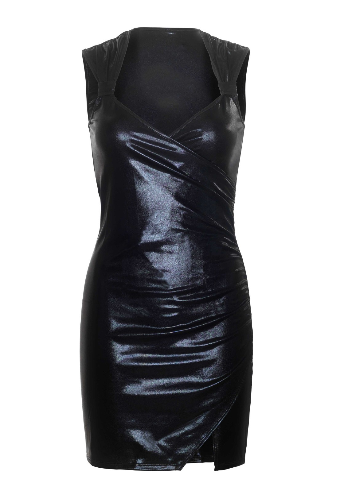 Dress Emma is a lamé wetlook bodycon dress with a ruched wrap, decorative knots on the straps and a sexy split on the leg.  The length measured from the shoulder is 80 cm/ 31.5 inch. The model has a length of 182 cm/ 70 inch and is wearing a size S.