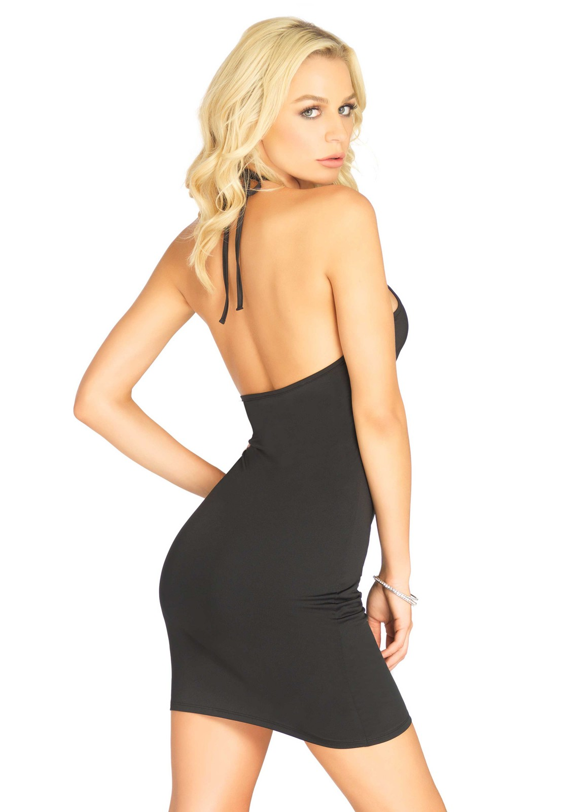 Dress Victoria is a spandex ruched bodycon dress with a contrast lace halter.  The length measured from the shoulder is 80 cm/ 31.5 inch. The model has a length of 182 cm/ 70 inch and is wearing a size S.