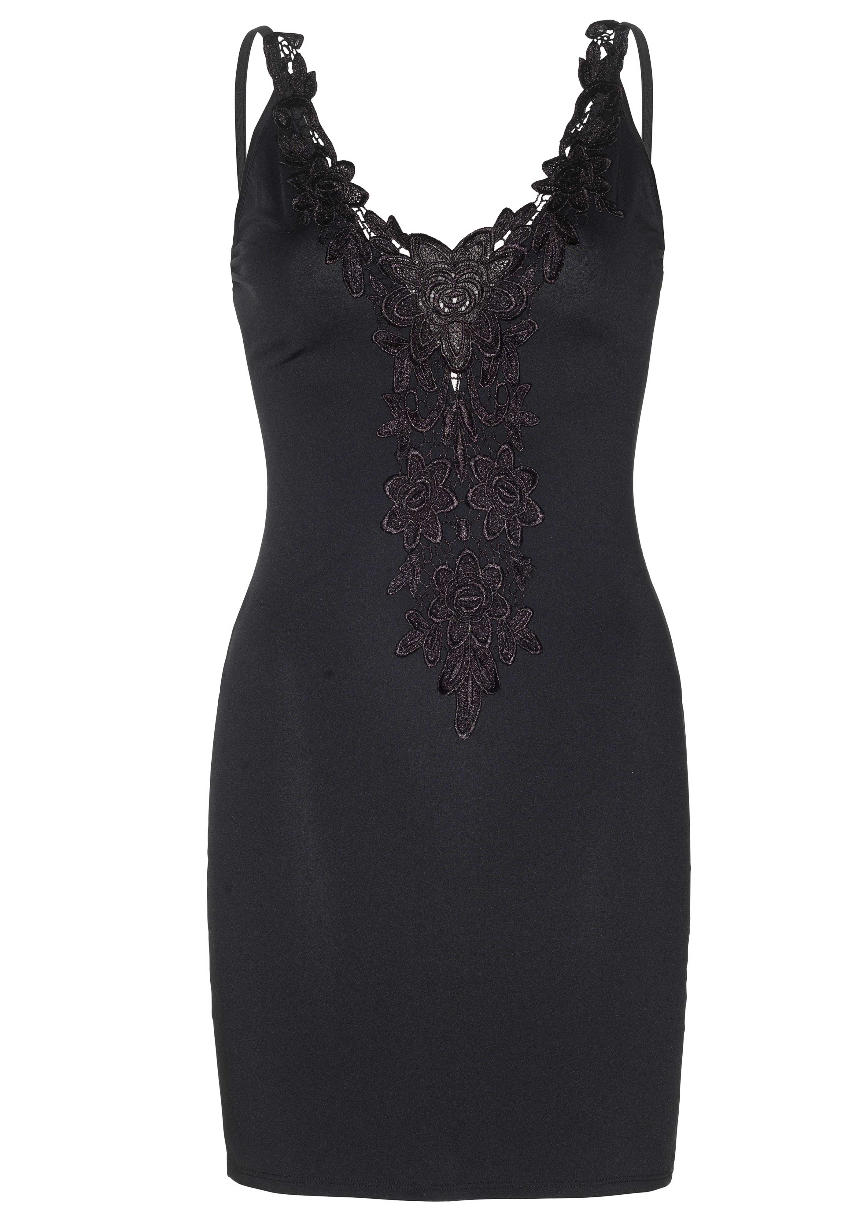 <p>Dress Dolce is a spandex bodycon dress with adjustable straps, a deep-V neck and an embroidered lace trim.</p>