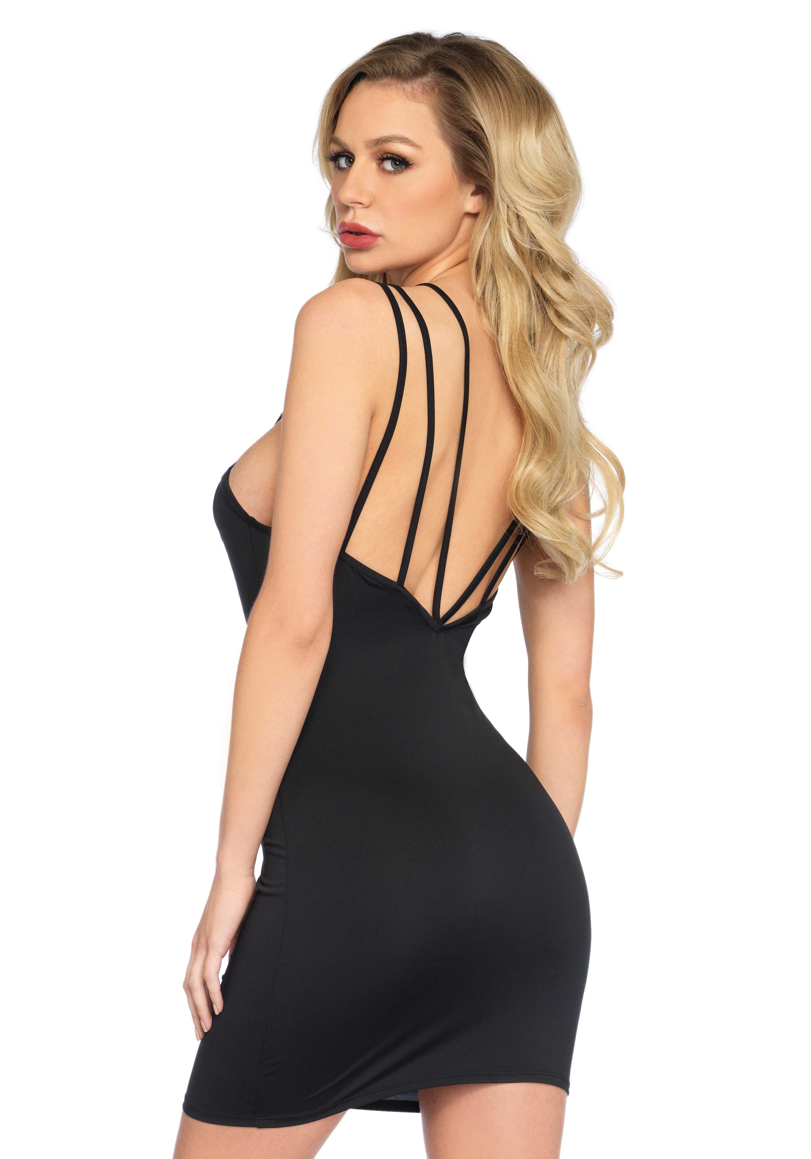 <p>Dress Felicia is spandex bodycon dress with strappy shoulder bands and embroidered lace detail at the front.</p>
