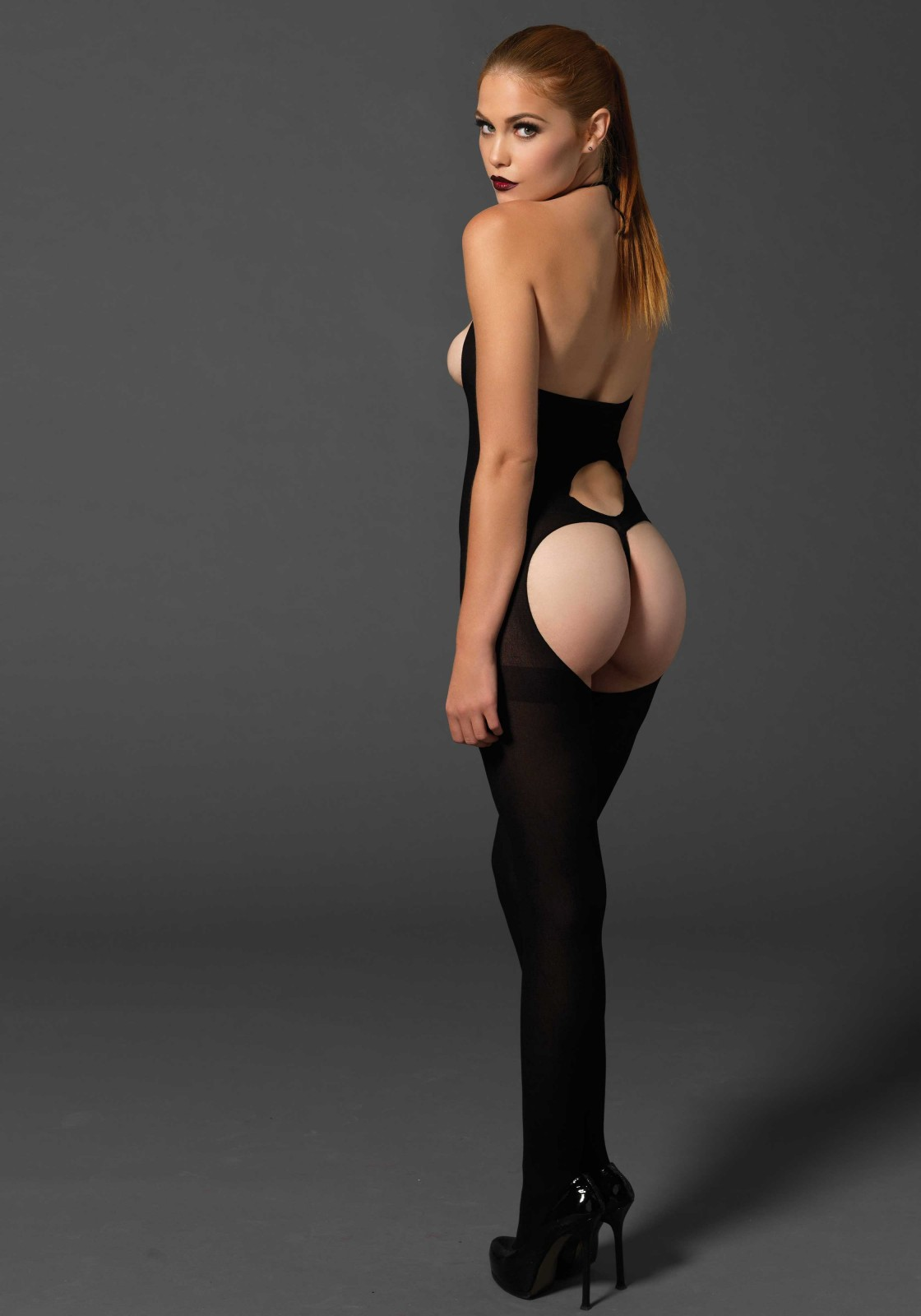 Opaque halter cupless keyhole back bodystocking with petal parting g-string.